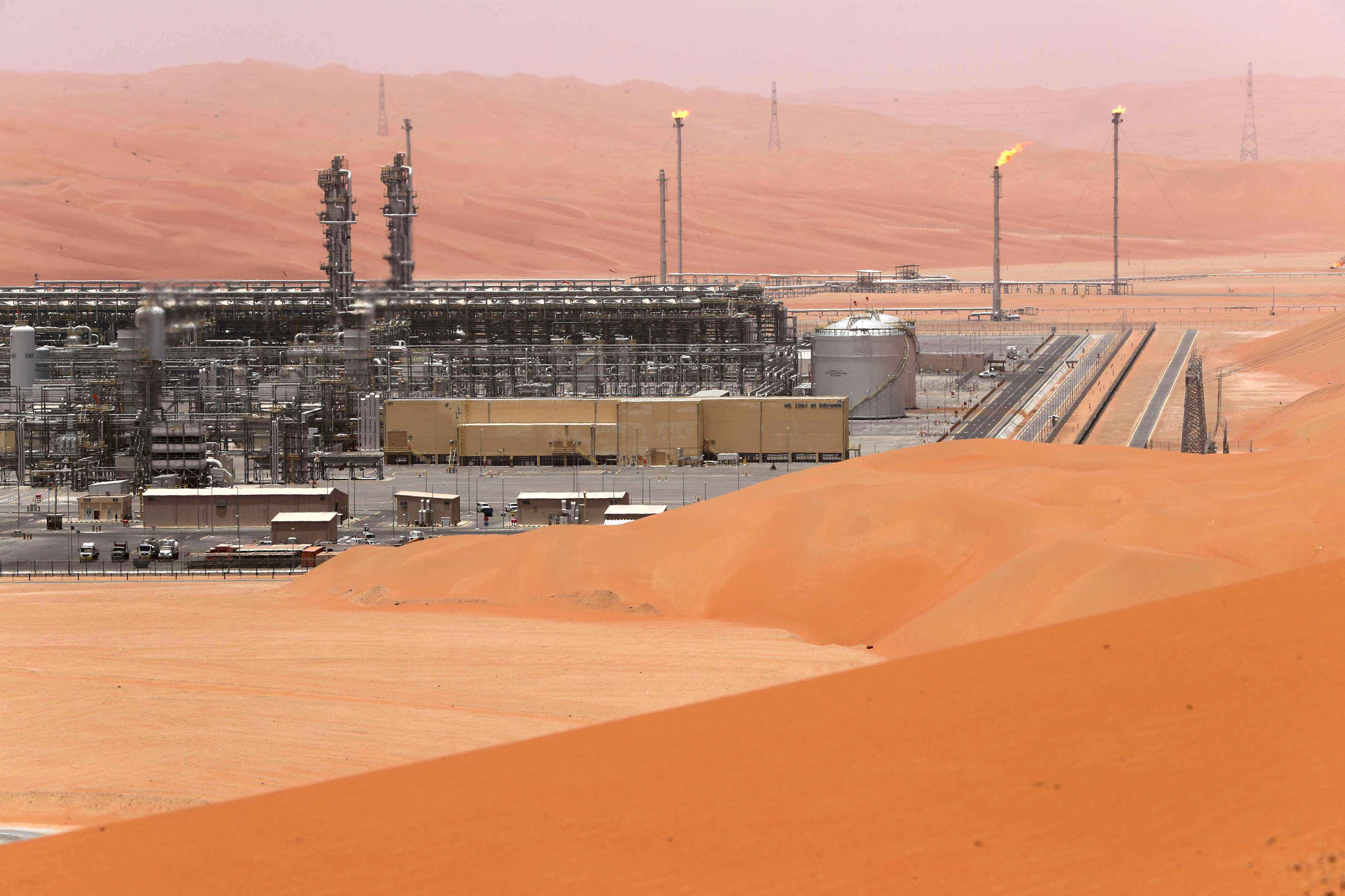 A general view of the Natural Gas Liquids (NGL) facility in Saudi Aramco's Shaybah oilfield at the Empty Quarter. (Reuters)