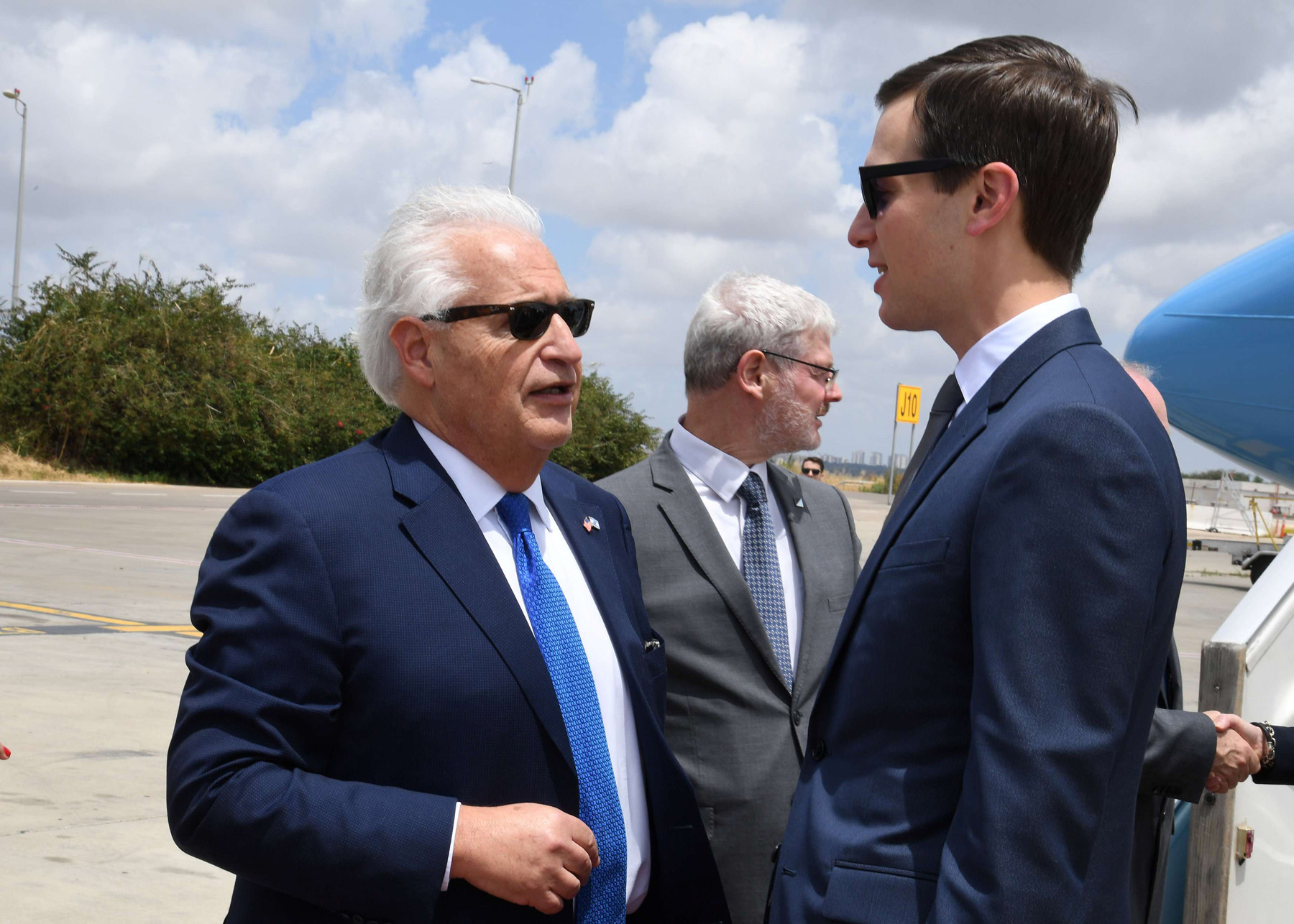 Heavy bias. A 2018 file picture shows White House senior adviser Jared Kushner (R) speaking with US Ambassador to Israel David Friedman upon Kushner's arrival at the Ben Gurion Airport, Israel. (Reuters)