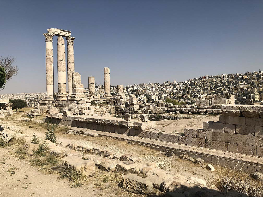 A view of the city of Amman (Backgound) from the citadel. (Roufan Nahhas)