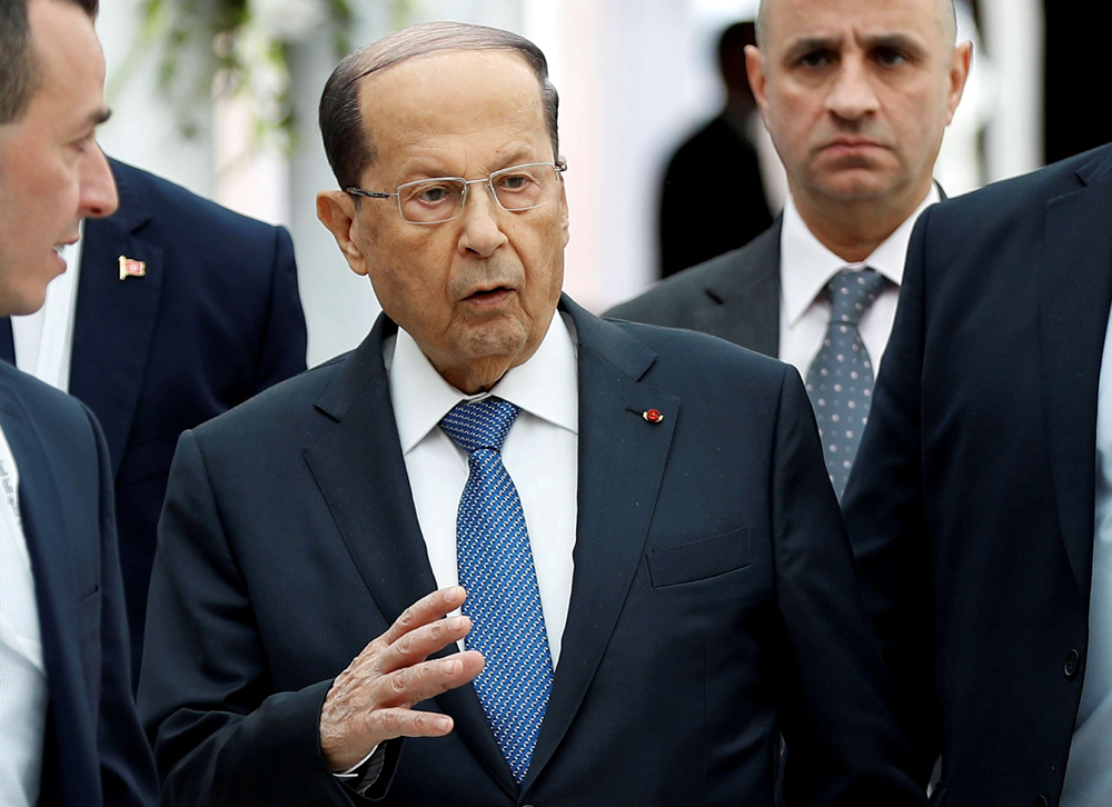 Lebanese President Michel Aoun gestures at Tunis-Carthage International Airport, Tunisia, March 30. (Reuters)