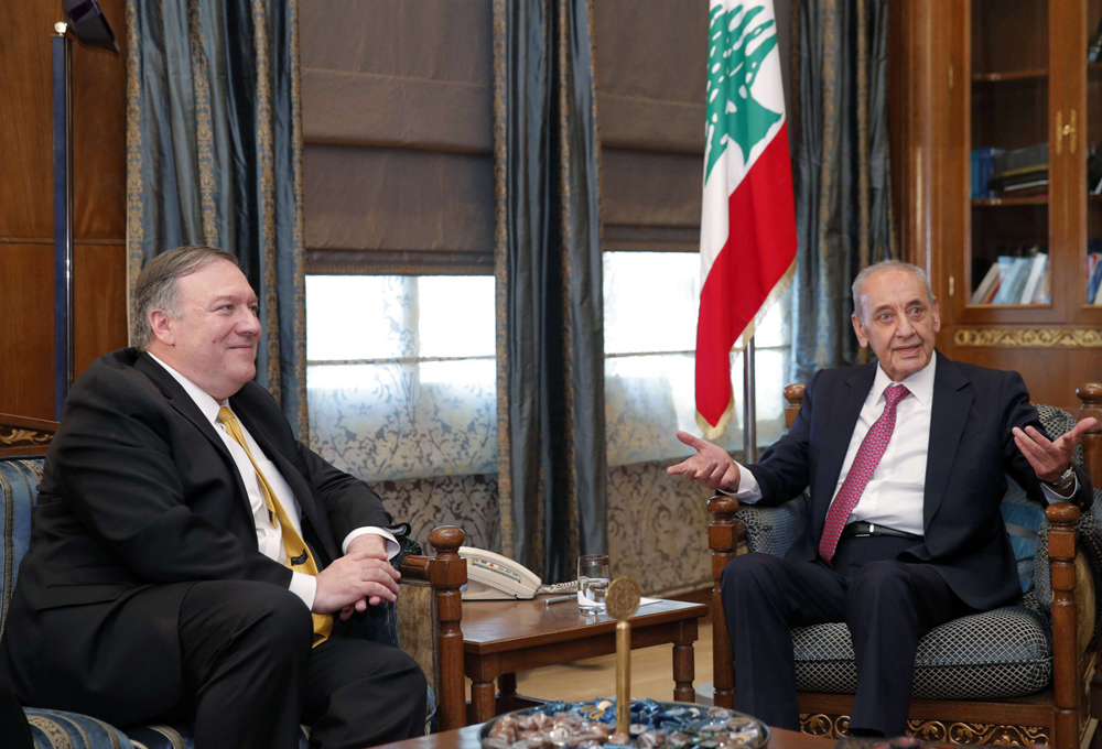Lebanese Parliament Speaker Nabih Berri (R) receives US Secretary of State Mike Pompeo in Beirut, March 22. (AP)