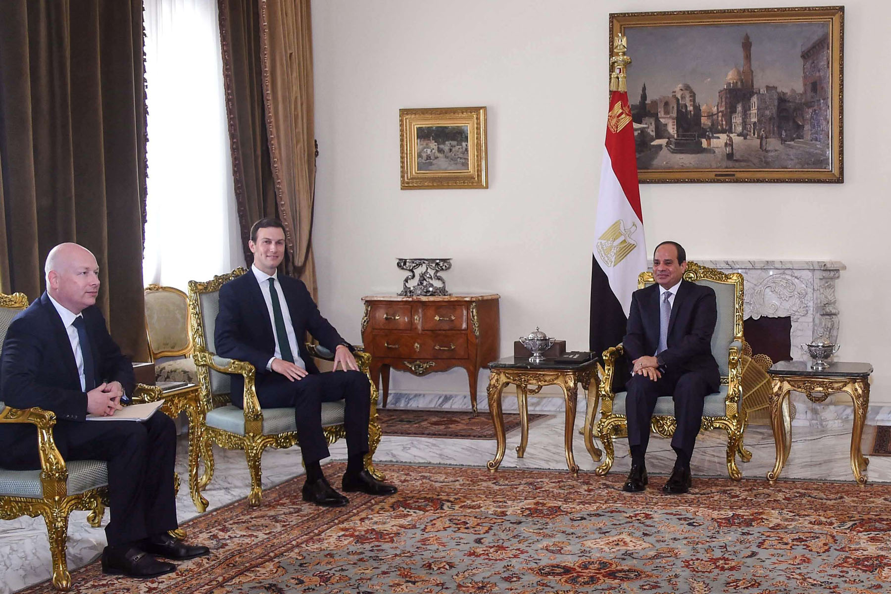 A 2018 file picture shows Egyptian President Abdel Fattah al-Sisi (R) meeting with the US president's special envoy Jason Greenblatt (L) and White House senior adviser Jared Kushner at the presidential palace in the capital Cairo. (AFP)