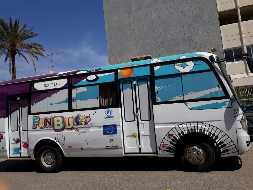 "A welcome change. The ""Fun Bus"" drives in downtown Beirut.  (Makhzoumi Foundation)"
