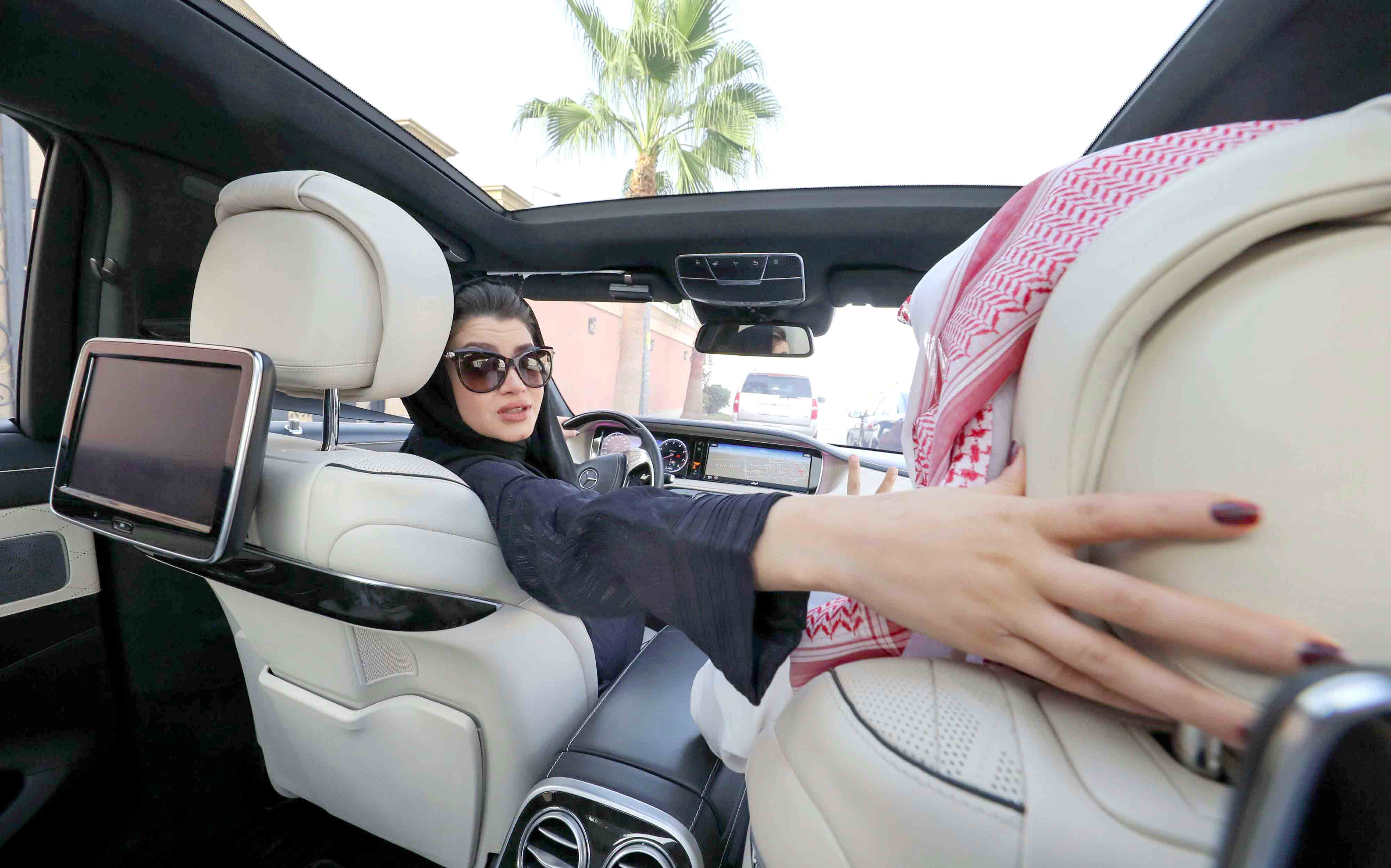 In the driver's seat. A Saudi woman practises driving in Riyadh.(AFP)