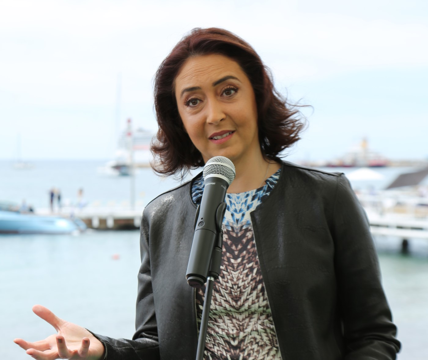 Princess Rym Ali, the festival president, speaks to reporters during a news conference in Cannes.(Courtesy of The Royal Film Commission)