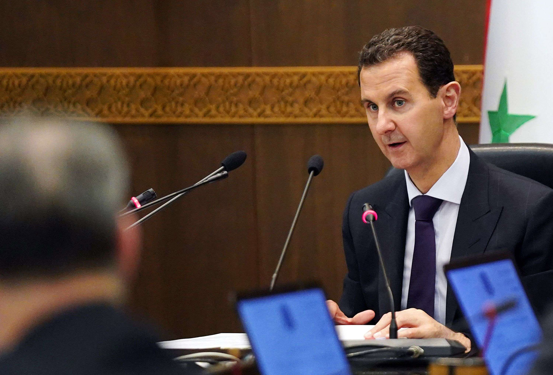 Still out. President Bashar al-Assad heading a cabinet meeting in the Syrian capital Damascus.AFP