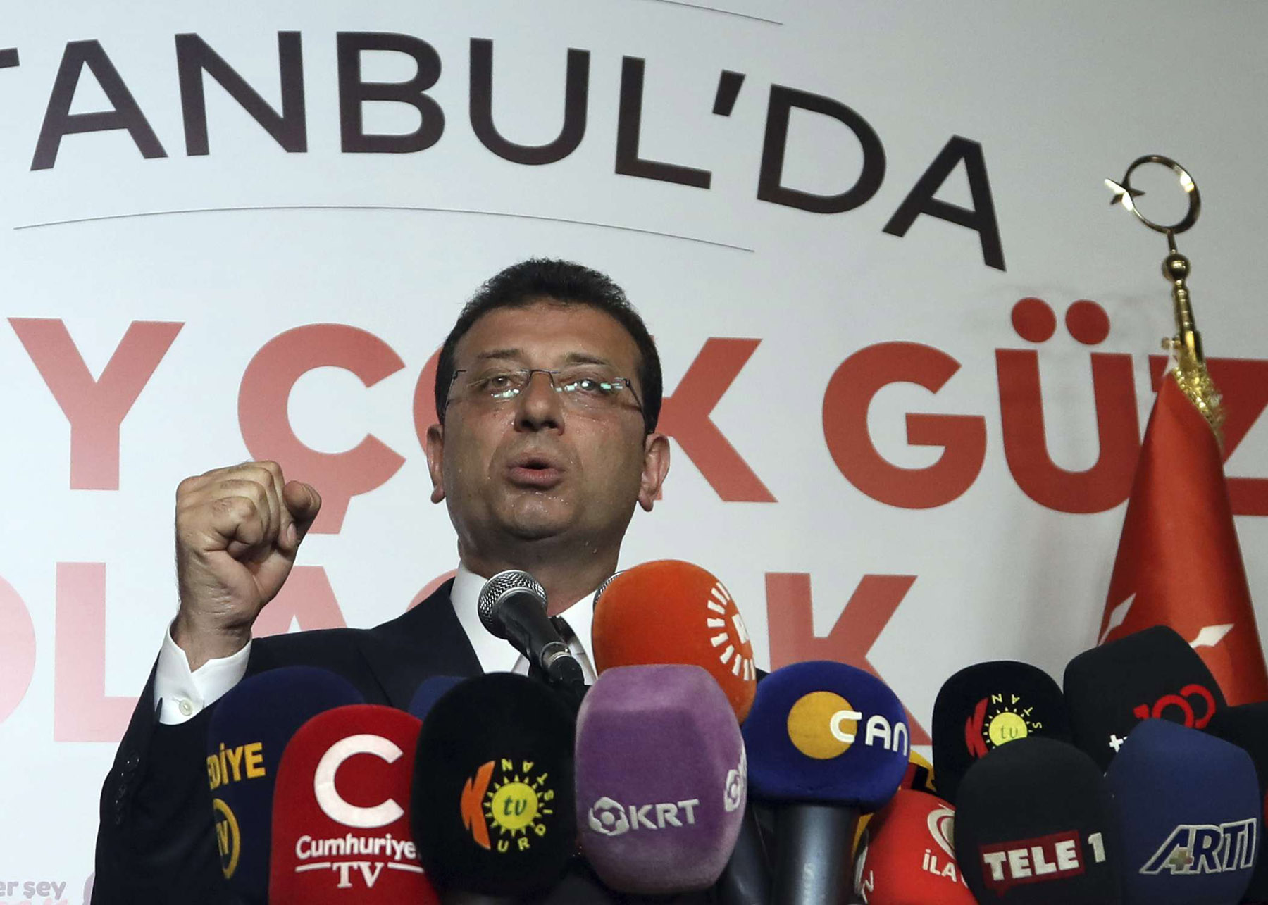 Ekrem Imamoglu, candidate of Turkey's secular opposition Republican People's Party, makes a statement after his election victory, in Istanbul, June 23, 2019. (AP)