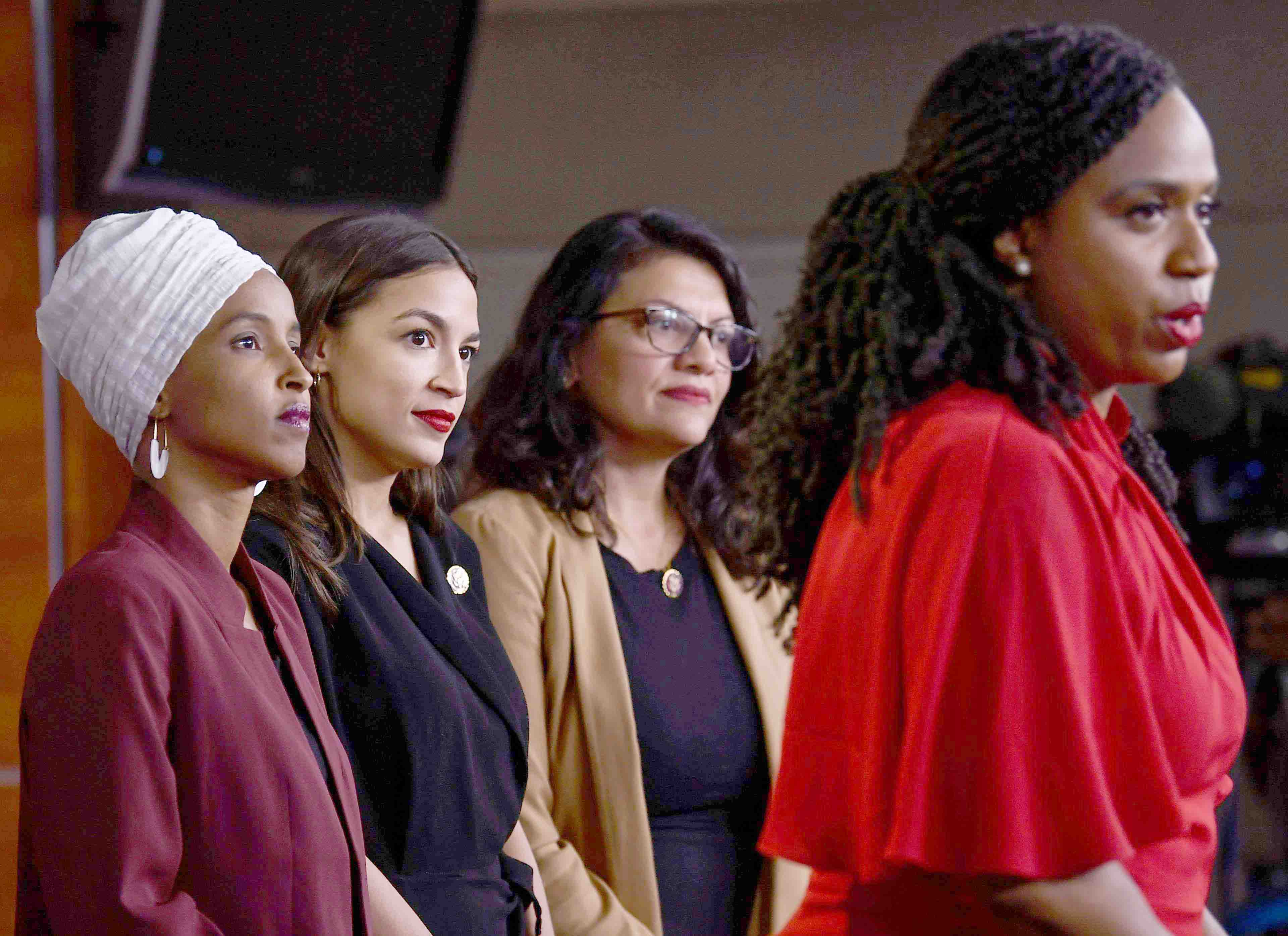 Not easily intimidated. US Representative Ayanna Pressley speaks as Ilhan Abdullahi Omar (L), Rashida Tlaib (2nd R) and Alexandria Ocasio-Cortez hold a news conference to address remarks made by US President Donald Trump, July 15. (AFP)