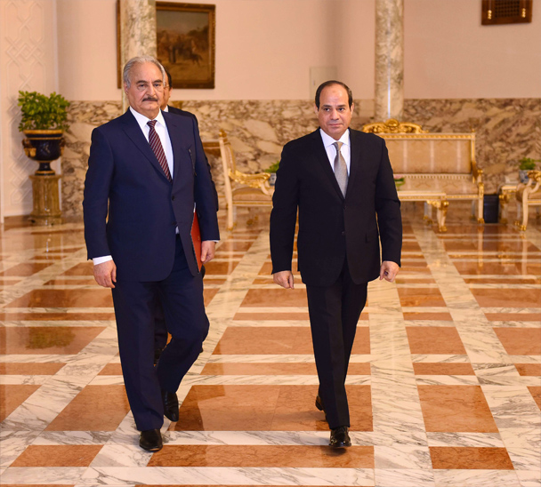Critical juncture. Egyptian President Abdel Fattah al-Sisi (R) and Libyan Field-Marshal Khalifa Haftar at the Presidential Palace in Cairo, last April. (DPA)