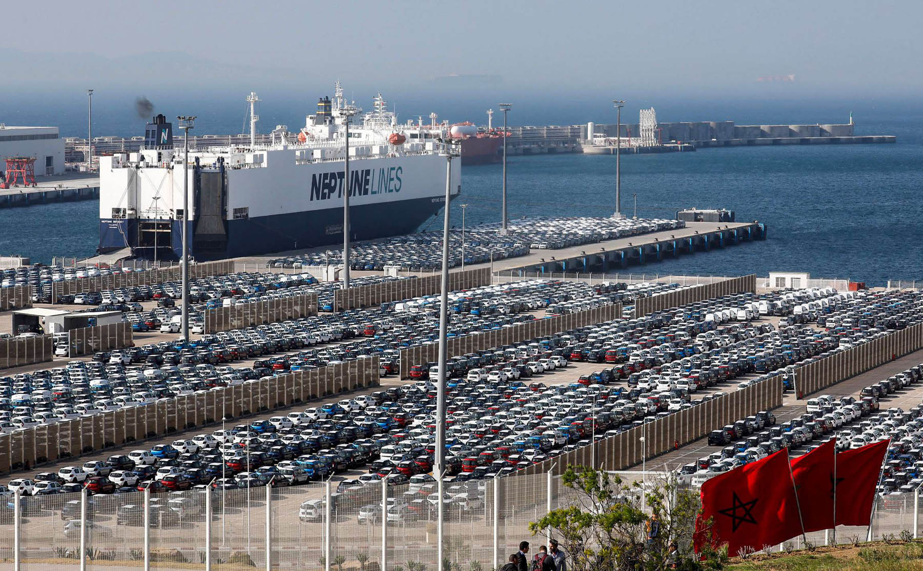 A view of a ship moored next to a lot of cars at Terminal I of the Tanger Med port on the Strait of Gibraltar. 	 (AFP)