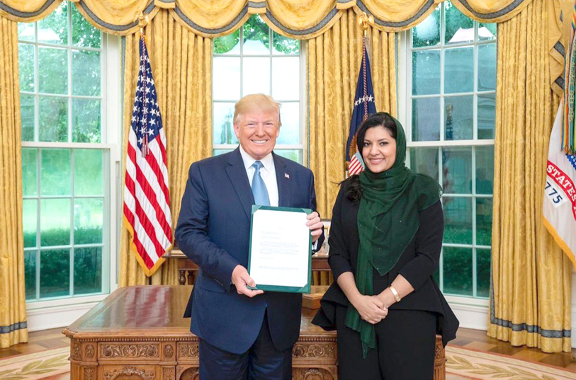 A fresh perspective. Saudi Arabia's new Ambassador to the United States Princess Reema bint Bandar bin Sultan (R) presents her credentials to US President Donald Trump in Washington. (Twitter)