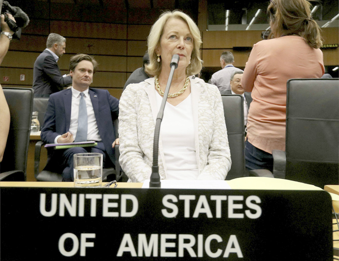 Playing for time. US Ambassador Jackie Wolcott waits for IAEA Board of Governors meeting in Vienna, July 10. (AP)