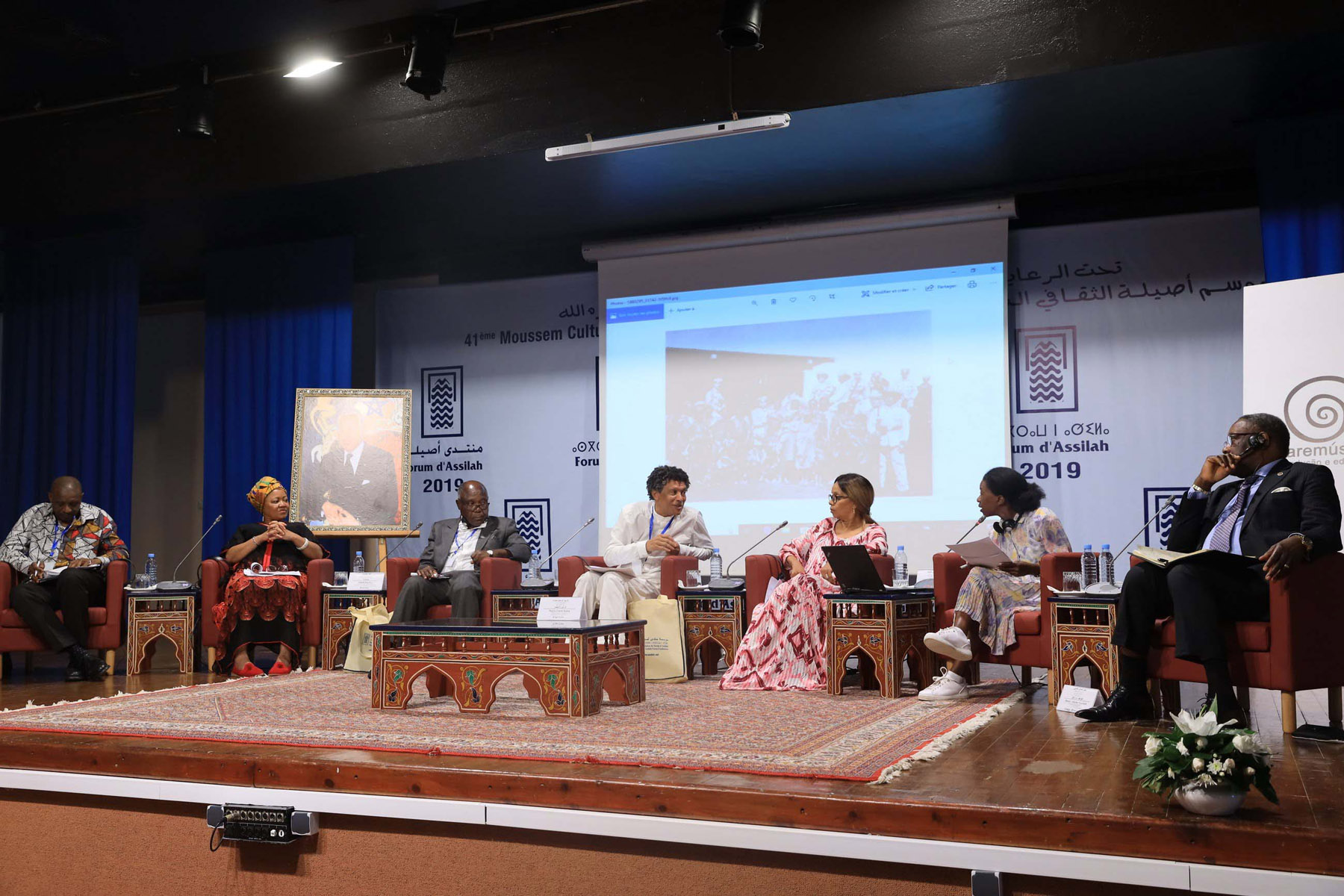 "Panellists take part in the ""African Creativity in Africa and in the Diaspora"" symposium in Asilah. (Saad Guerraoui)"
