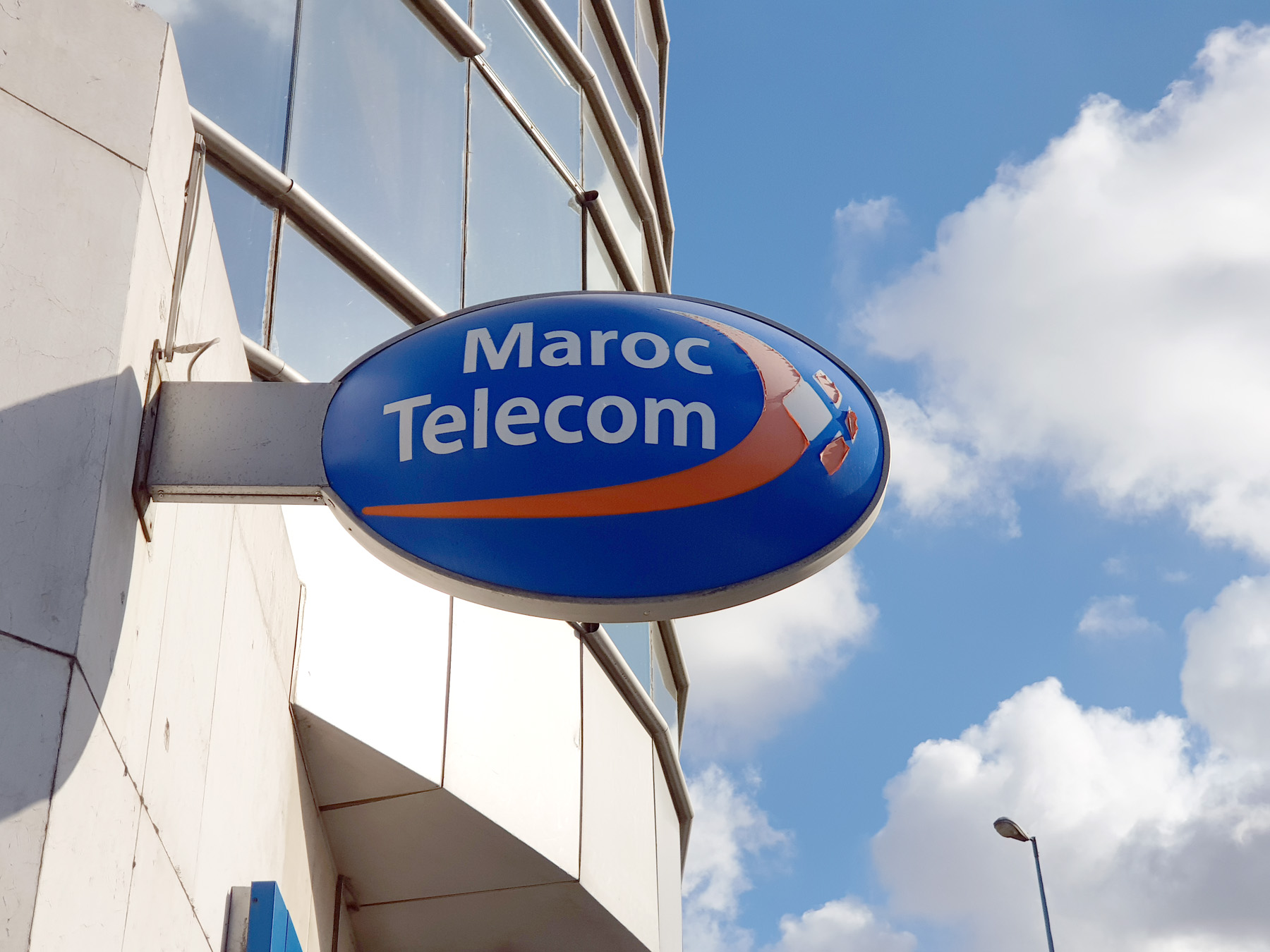 A sign of Maroc Telecom near a shop in Casablanca. (Saad Guerraoui)