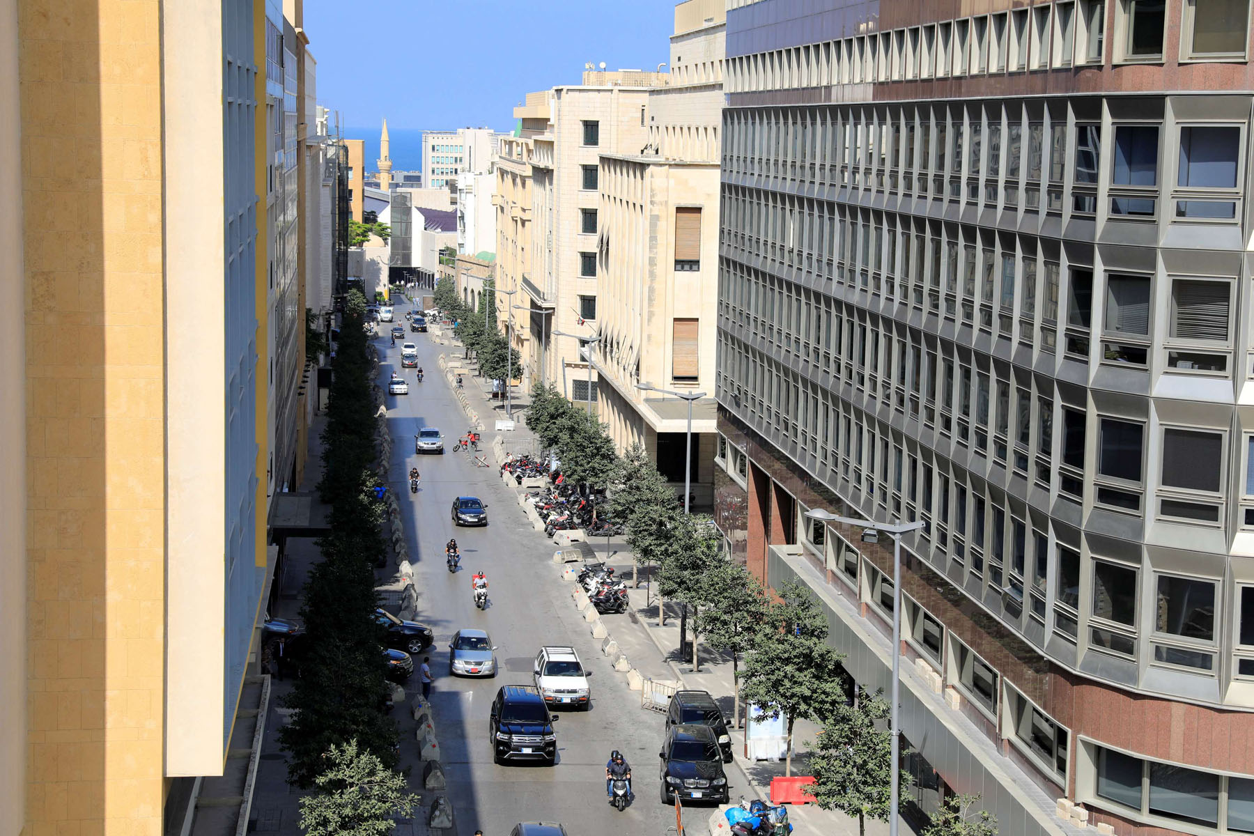 A general view shows a street hosting banks and financial institutions, known as Banks Street, in Beirut Central District. (Reuters)