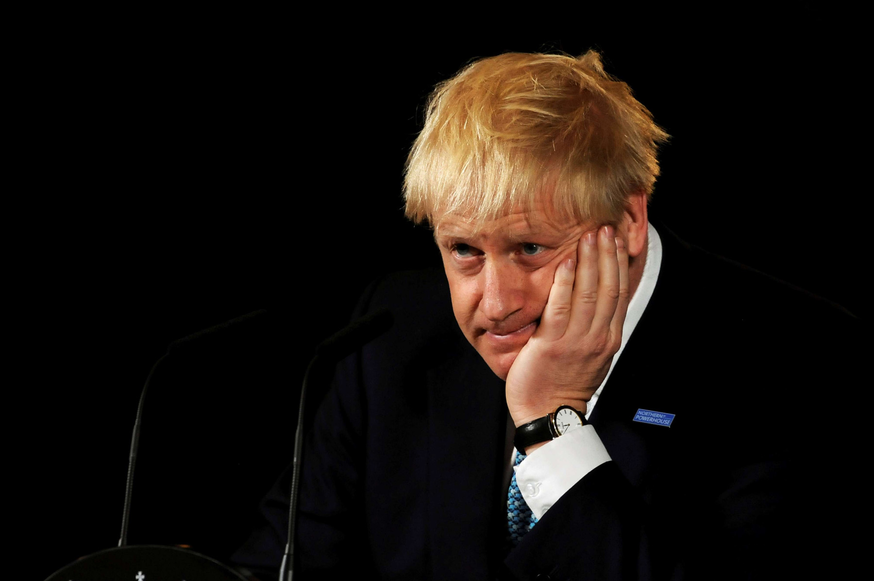 Britain's Prime Minister Boris Johnson reacts during a speech on domestic priorities at the Science and Industry Museum in Manchester, Britain July 27, 2019. (Reuters)