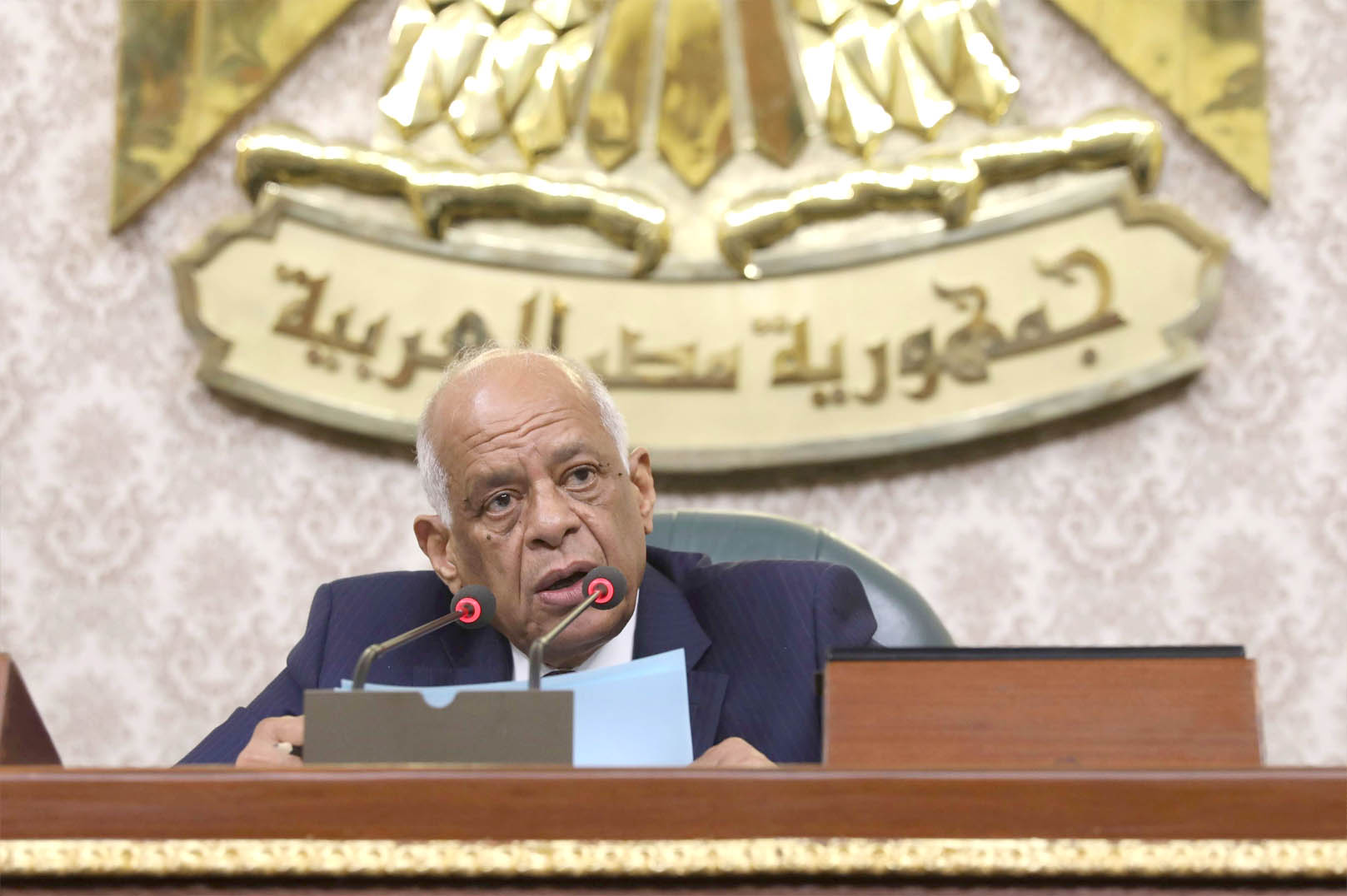 Adjusting course. Egypt's Parliament Speaker Ali Abdel A′al speaks during a general session in the capital Cairo. (AFP)