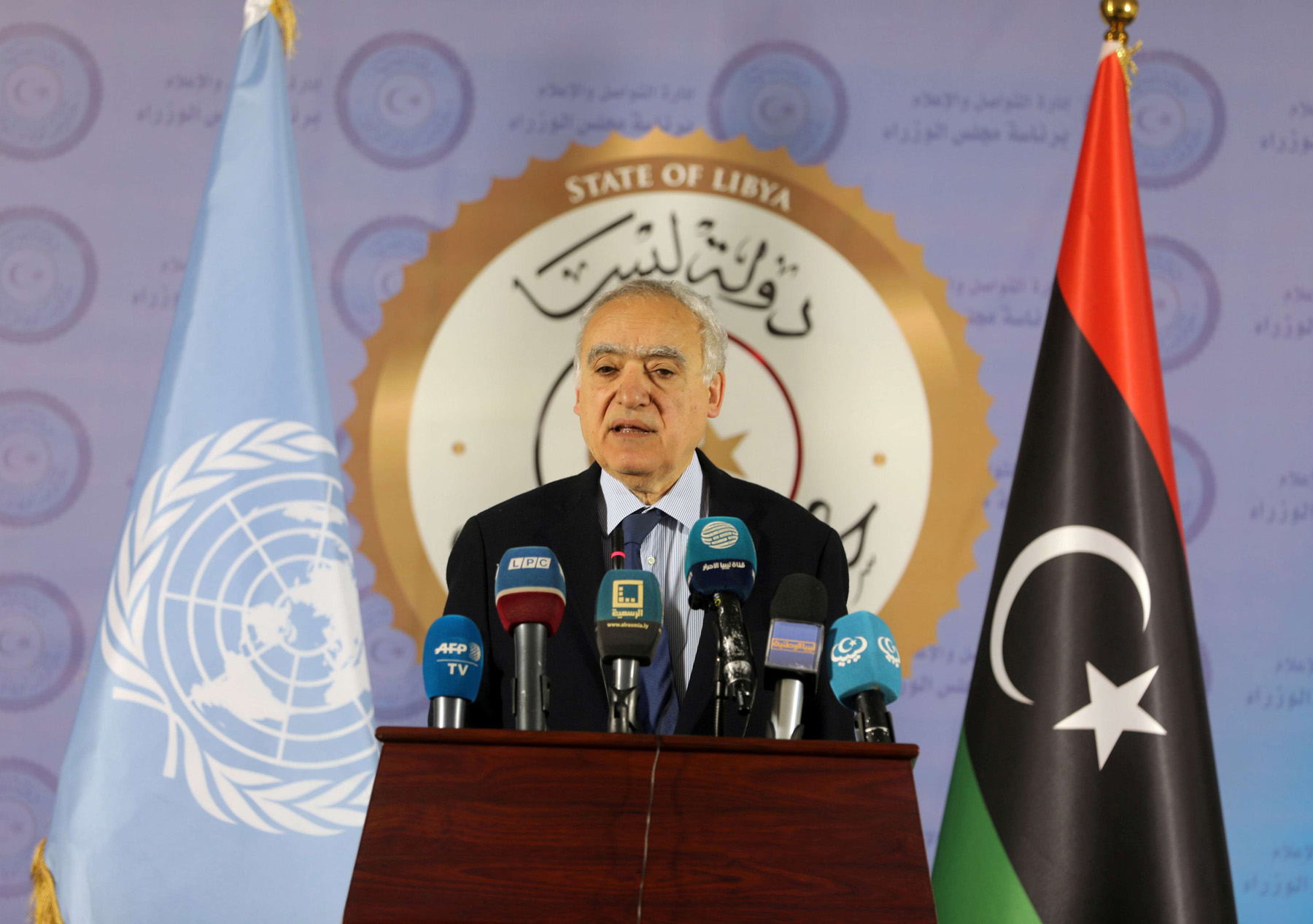 In a tight spot. A file picture shows UN Special Envoy to Libya Ghassan Salame speaking during a news conference in Tripoli.  (Reuters)