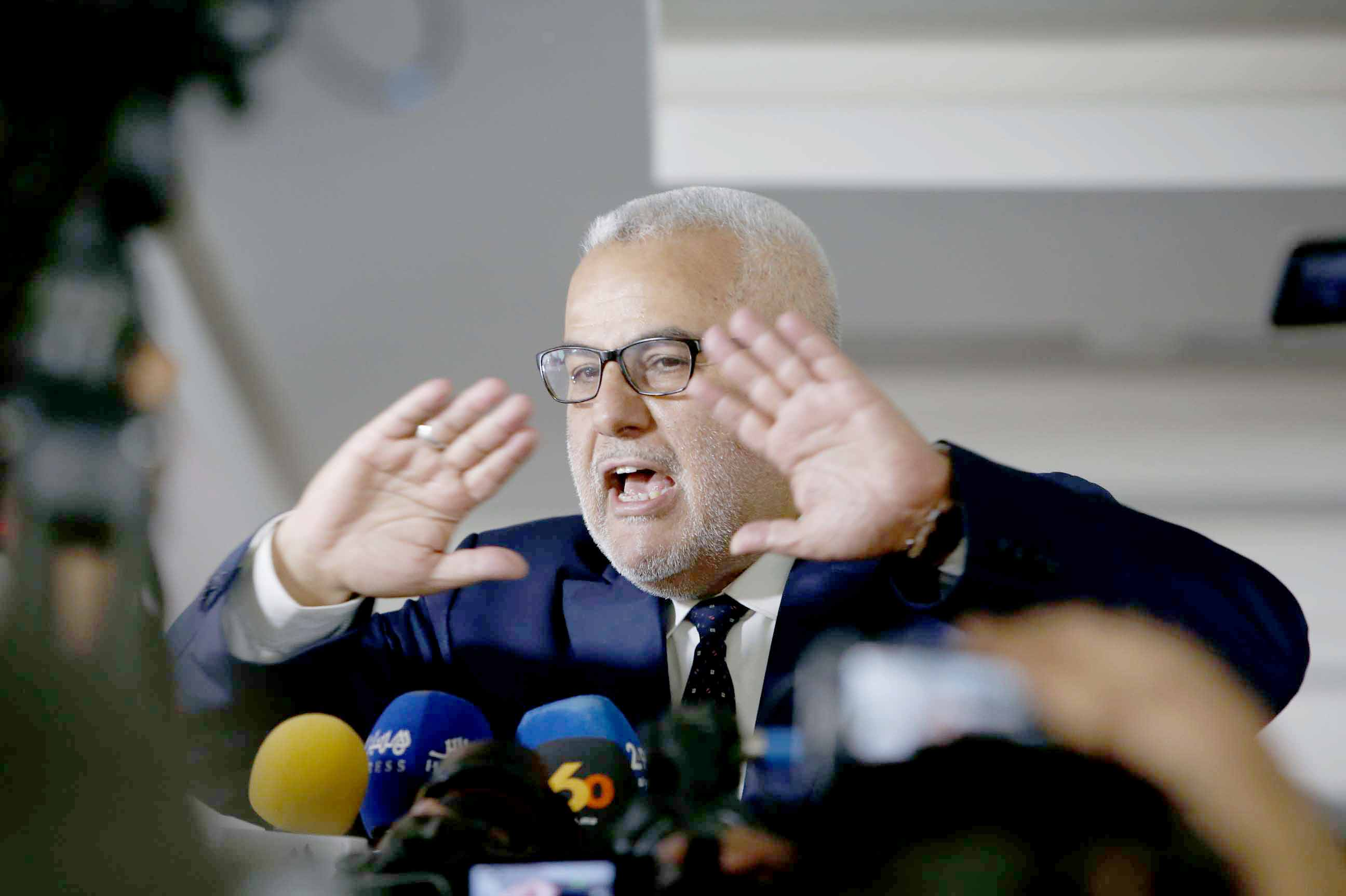 A 2017 file picture of former Moroccan Prime Minister Abdelilah Benkirane at a session of the Islamist Justice and Development Party in Sale near Rabat. (AP)