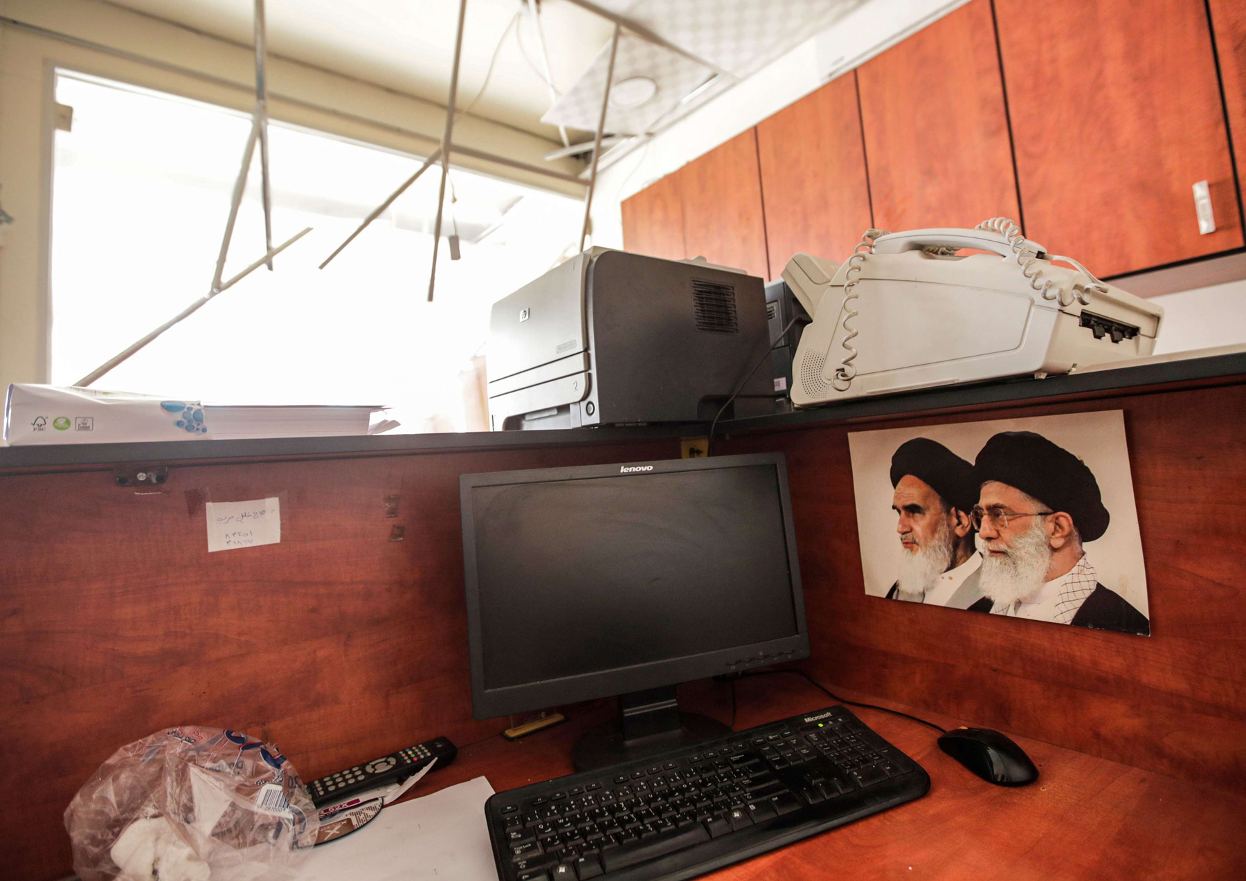 Concerns about sovereignty. Damage inside a media centre of the Lebanese Shia group Hezbollah in southern Beirut, August 25. (AFP)