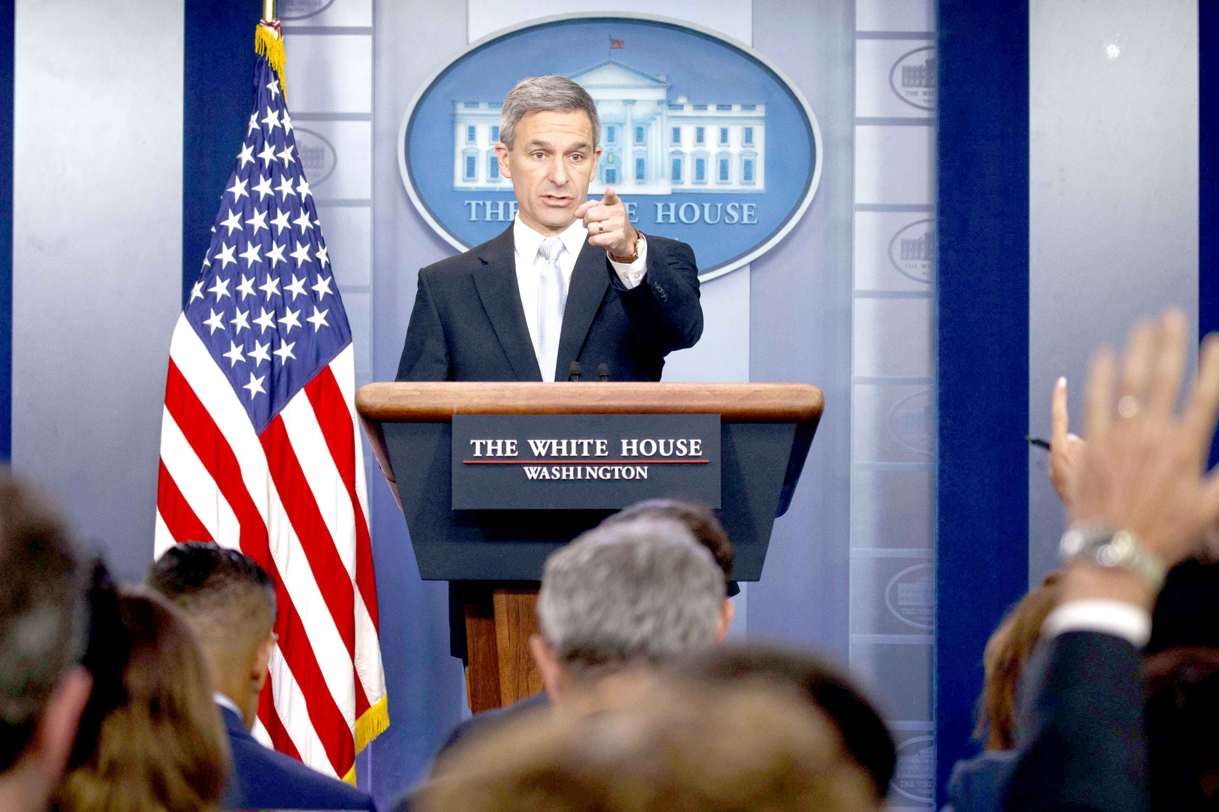 Acting Director of United States Citizenship and Immigration Services Ken Cuccinelli speaks at the White House, August 12. (AP)