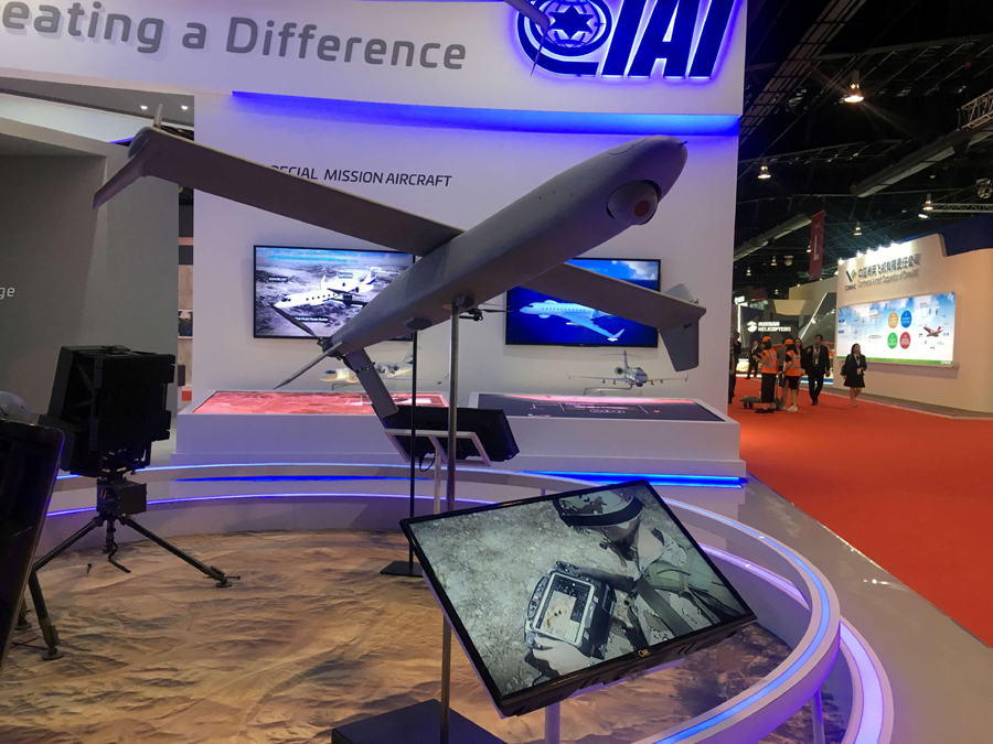 A drone model is seen on display at the booth of drone maker Israel Aerospace Industries at the Singapore Airshow in Singapore, 2018. (Reuters)