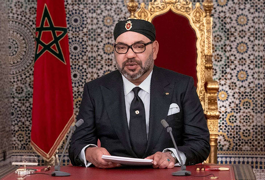 Looking ahead. Morocco's King Mohammed VI delivers a speech marking the anniversary of his accession to the throne in Tetouan, July 29. (AFP)