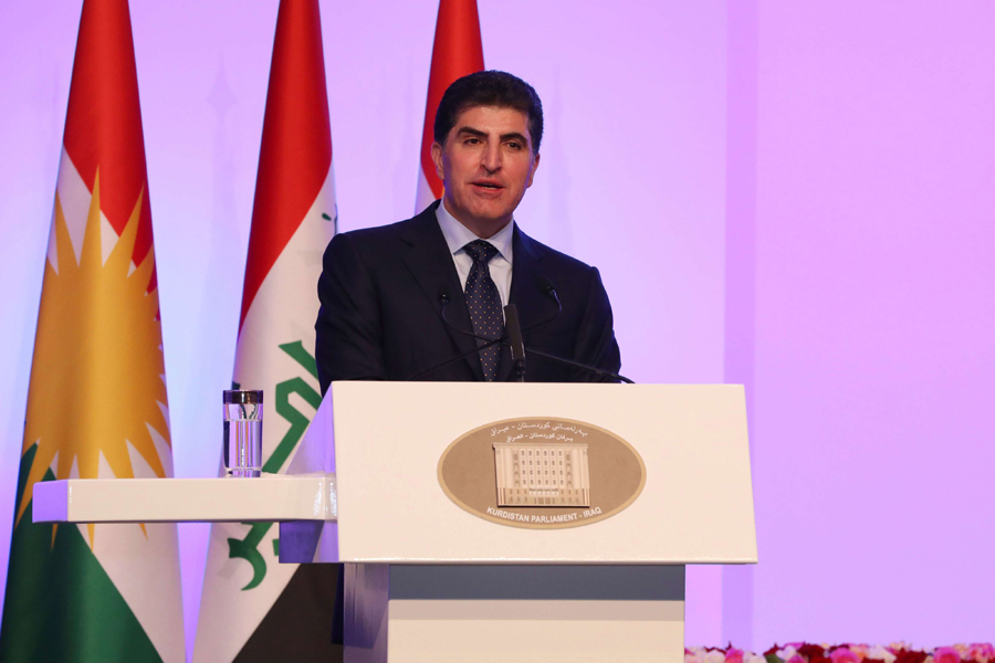 Family feud. Kurdistan Regional Government President Nechirvan Barzani delivers a speech during his inauguration in Erbil, June 19.  (Office of Iraqi Kurdistan Regional Government)