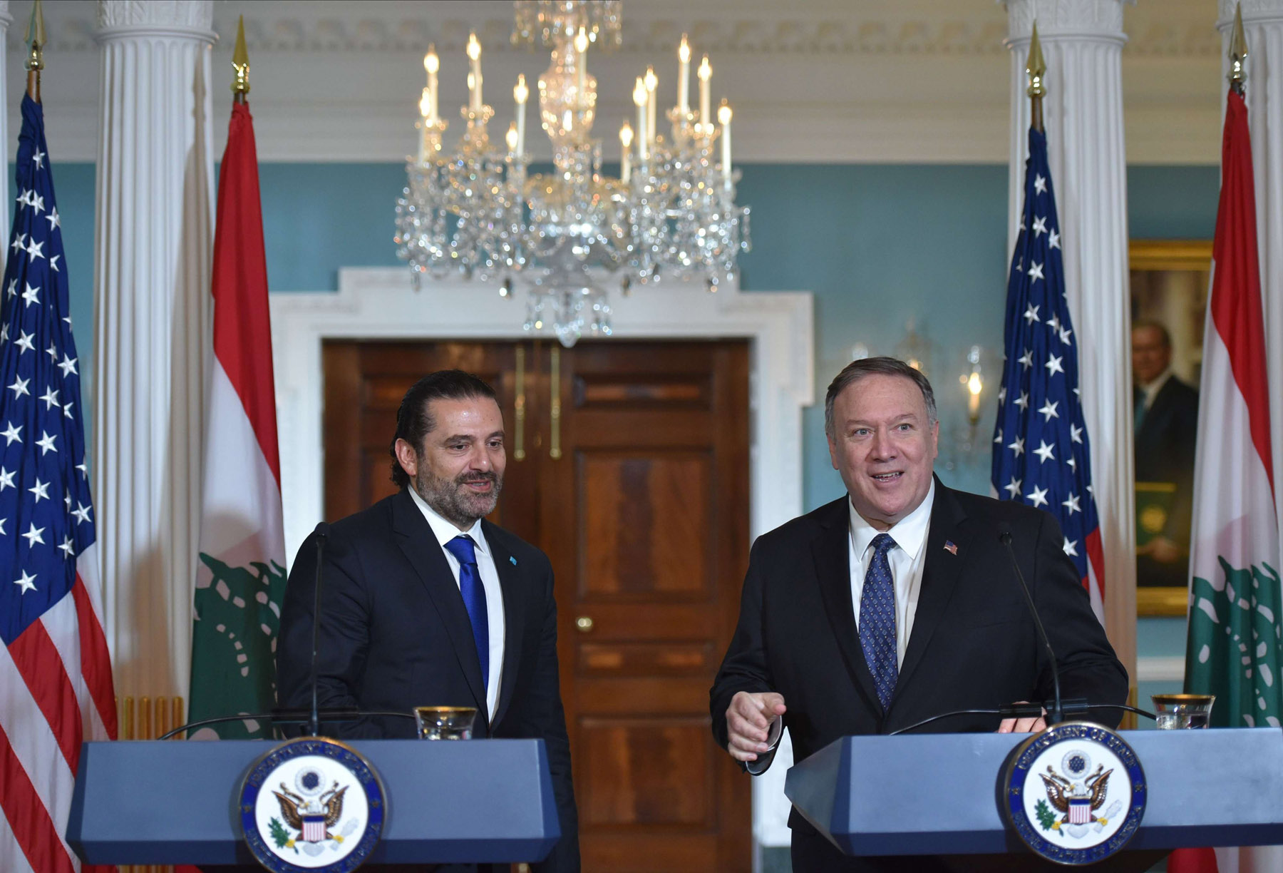 US Secretary of State Mike Pompeo (R) and Lebanon's Prime Minister Saad Hariri speak to the press following a meeting at the State Department in Washington, August 15. (AFP)