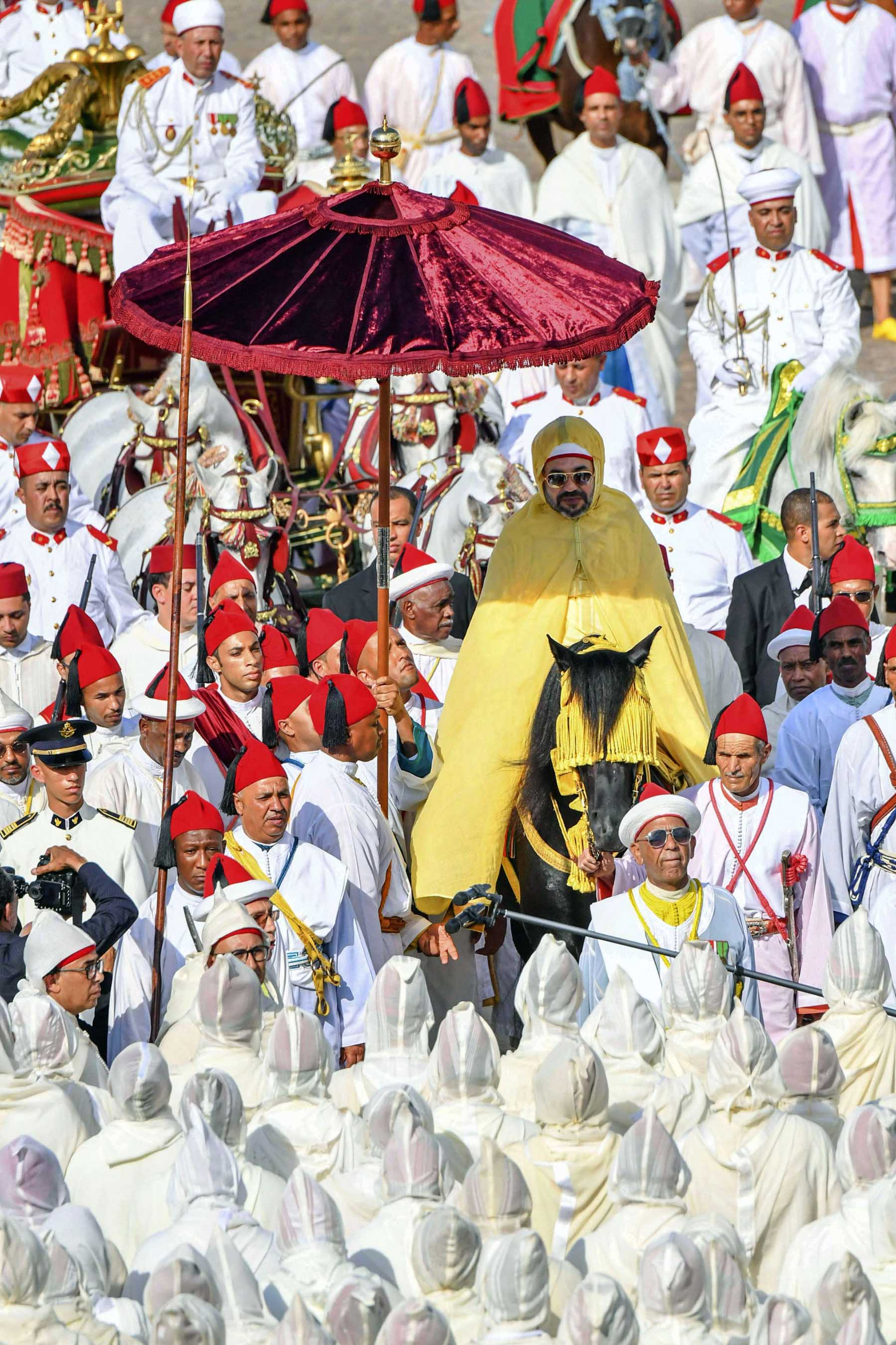Anniversary celebration. Morocco's King Mohammed VI attends a ceremony of allegiance in Tetouan, Morocco, July 31.  (AP)