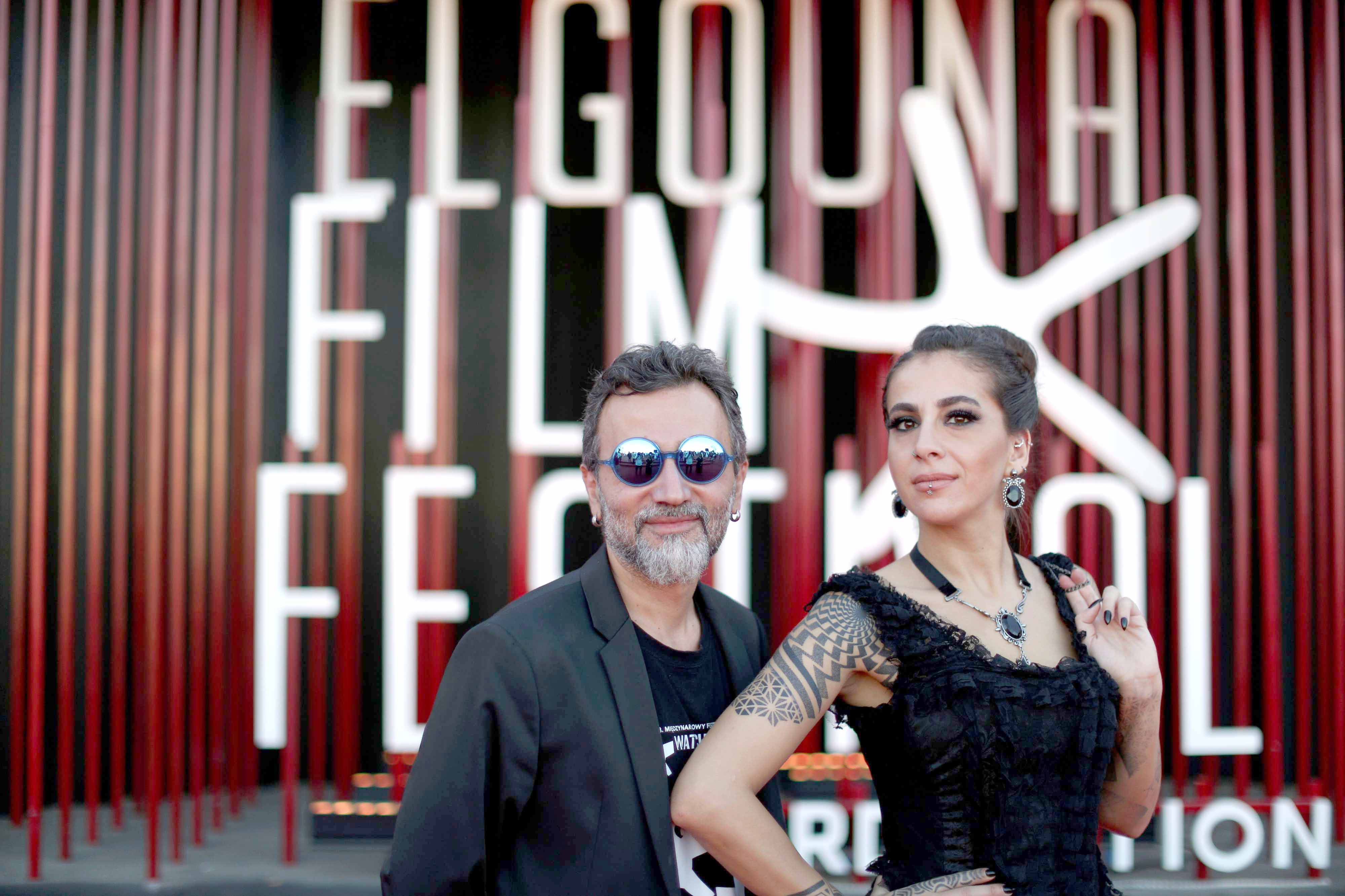 Meeting point for celebrities. Syrian directors Talal Derki (R) and his wife Heba Khaled Sherine on the red carpet during the third edition of El Gouna Film Festival, September 26.(AFP)
