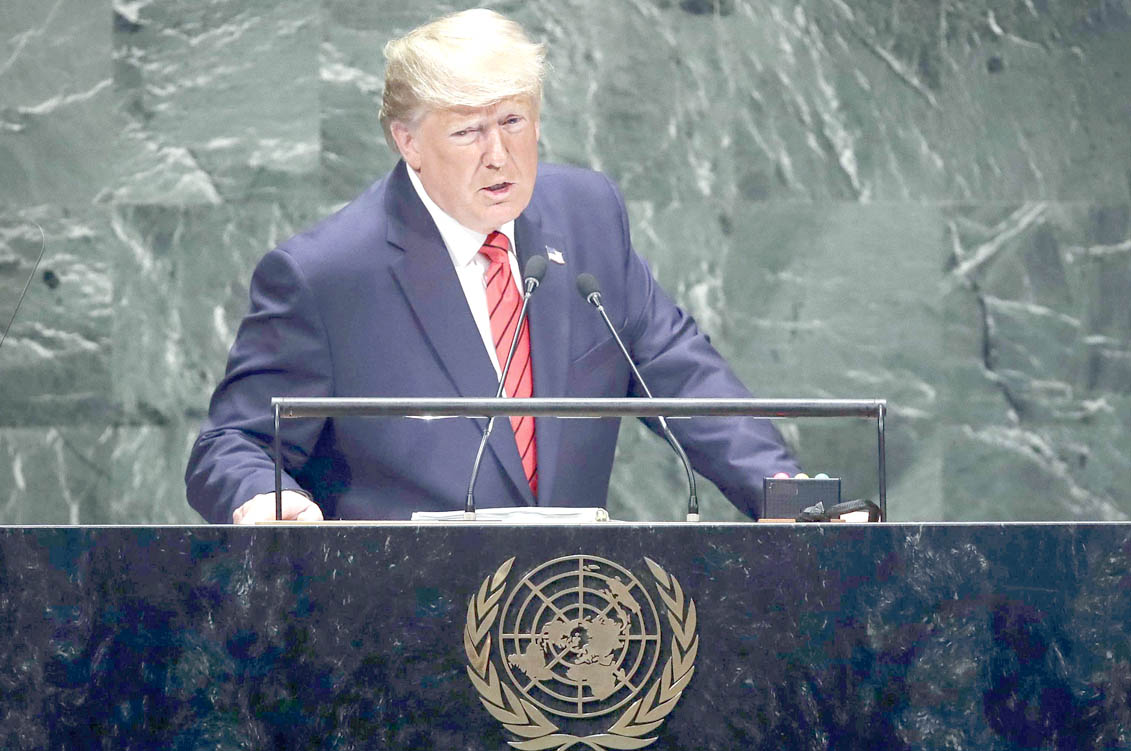 US President Donald Trump addresses the UN General  Assembly at UN Headquarters in New York, September 24. (AFP)