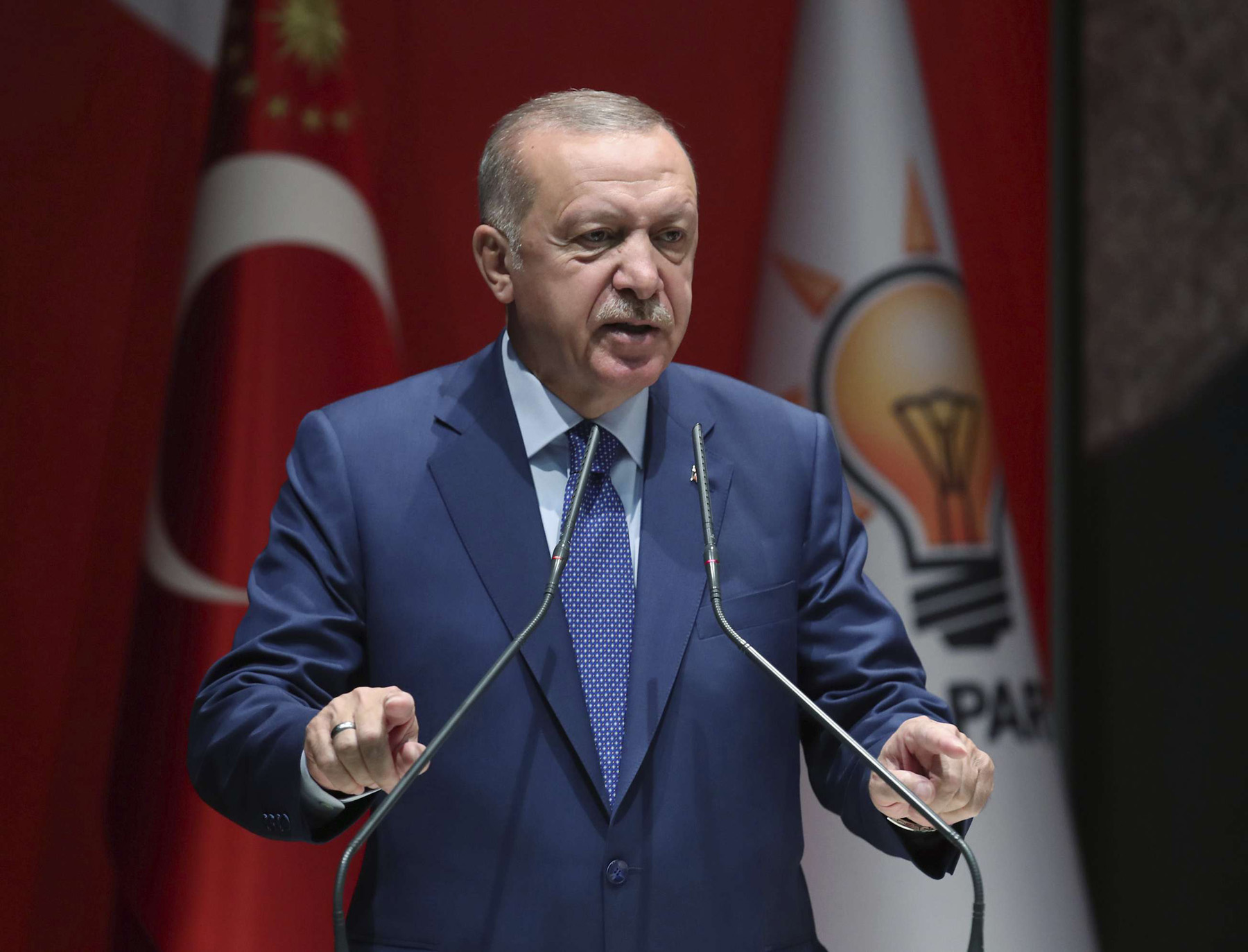 On the offensive. Turkish President Recep Tayyip Erdogan speaks to his ruling party officials in Ankara, September 5.  (AP)
