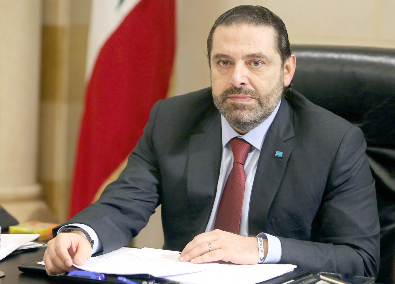 Too much on his plate. Lebanese Prime Minister Saad Hariri during the meeting to discuss a draft policy statement at the governmental palace in Beirut. (Reuters)
