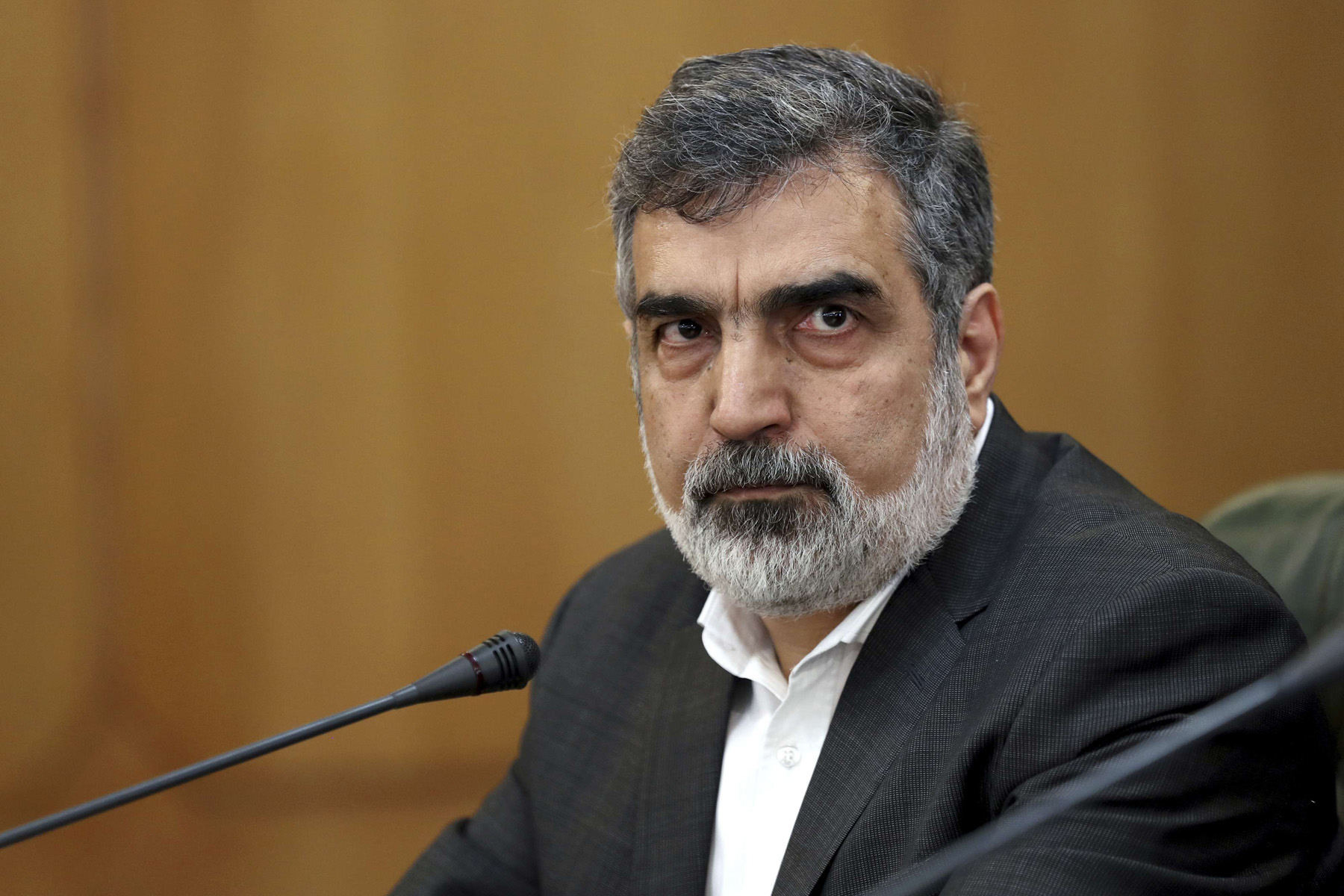 Spokesman for Iran's Atomic Energy Organisation Behrouz Kamalvandi attends a news conference in Tehran. (AP)