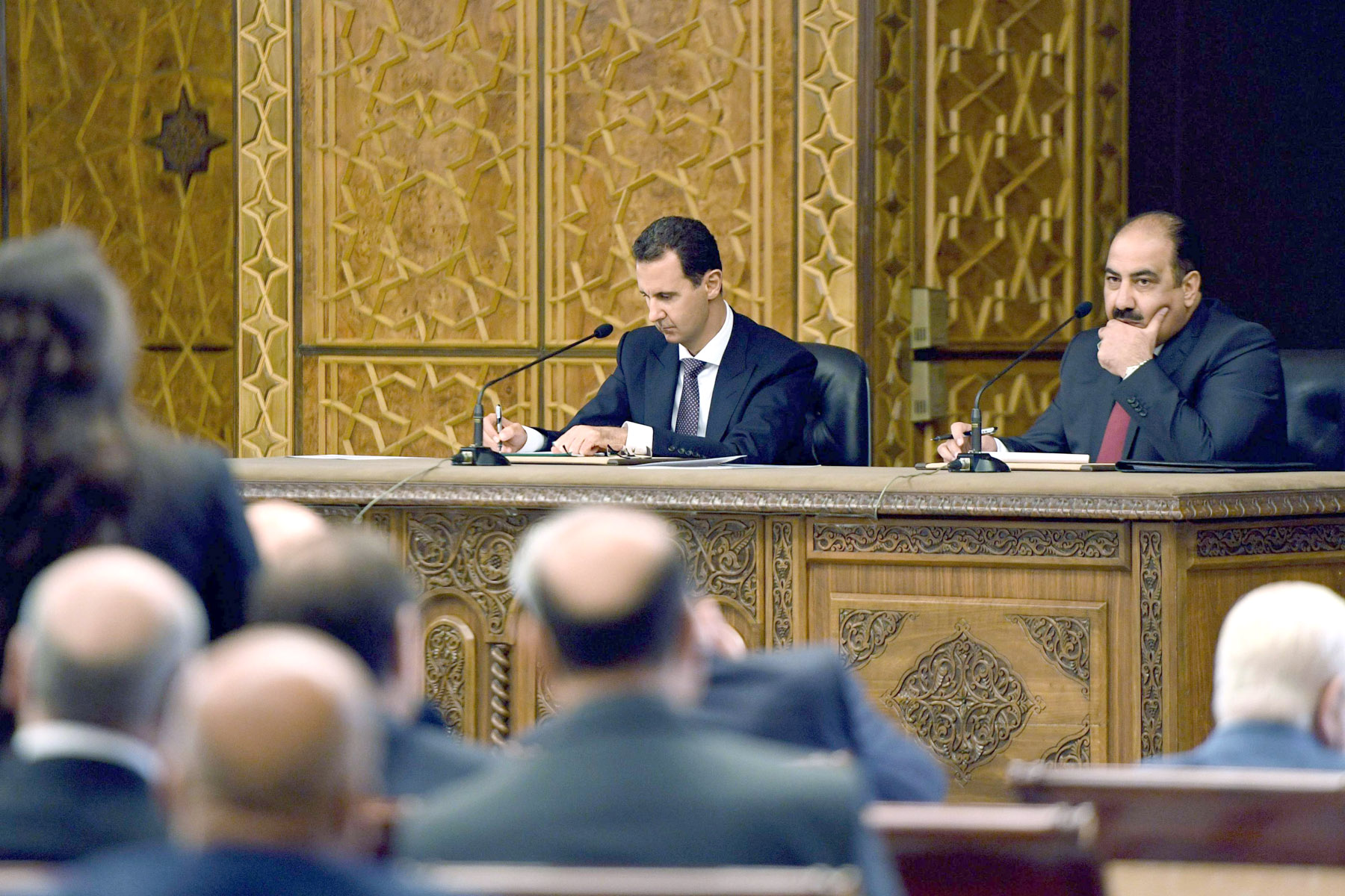A win for Damascus? Syria's President Bashar Assad (L) chairs the central committee of the ruling Baath party in Damascus, last October 7. (AFP)
