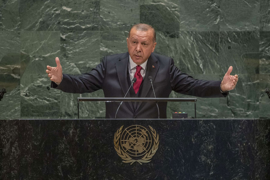 Gambling big. Turkish President Recep Tayyip Erdogan delivers a speech during the 74th UN General Assembly at UN headquarters in New York, September 24. (DPA)