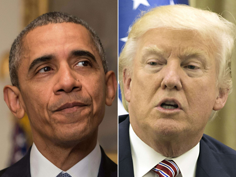 A combination photo shows US President Donald Trump (R) and former US President Barack Obama. (AFP)