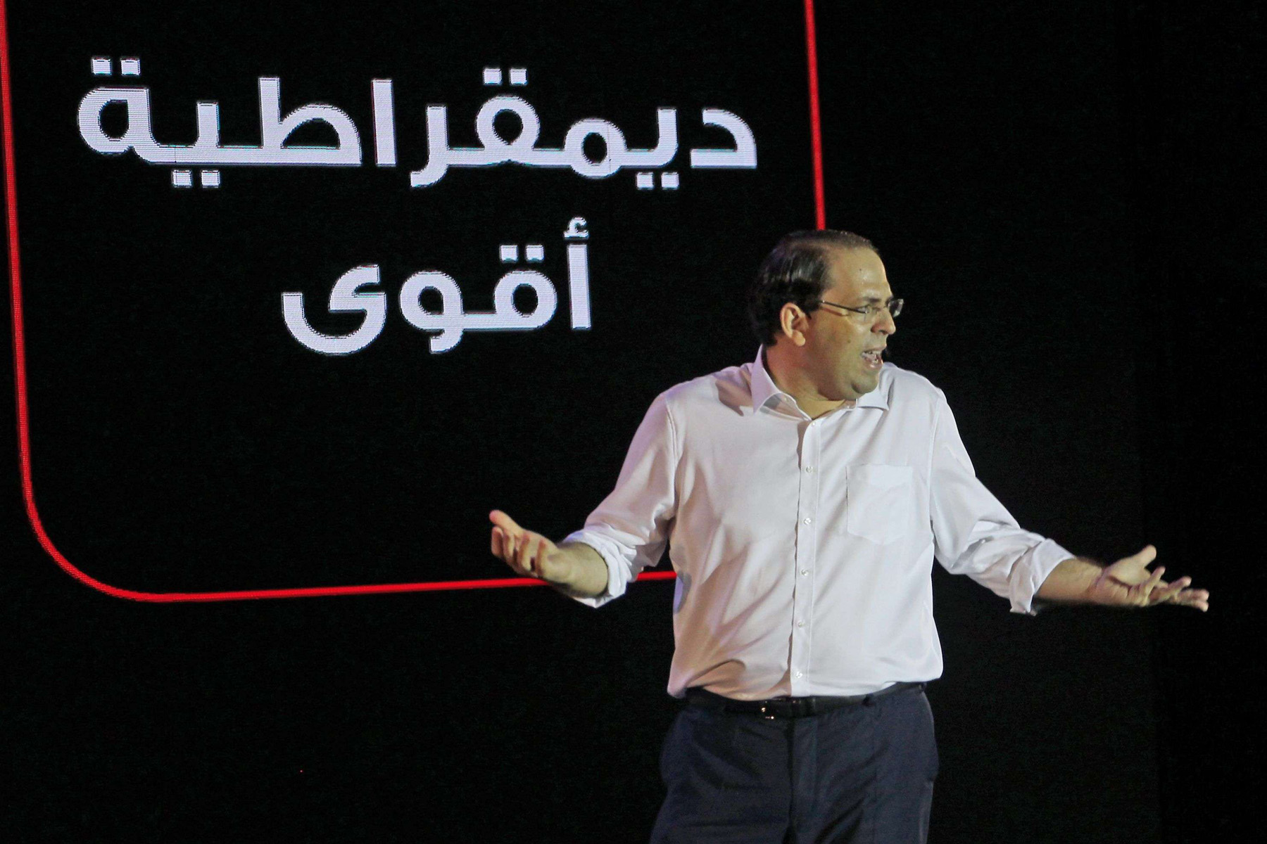 Tunisian Prime Minister and presidential hopeful Youssef Chahed speaks during an election campaign in Tunis. (AFP)