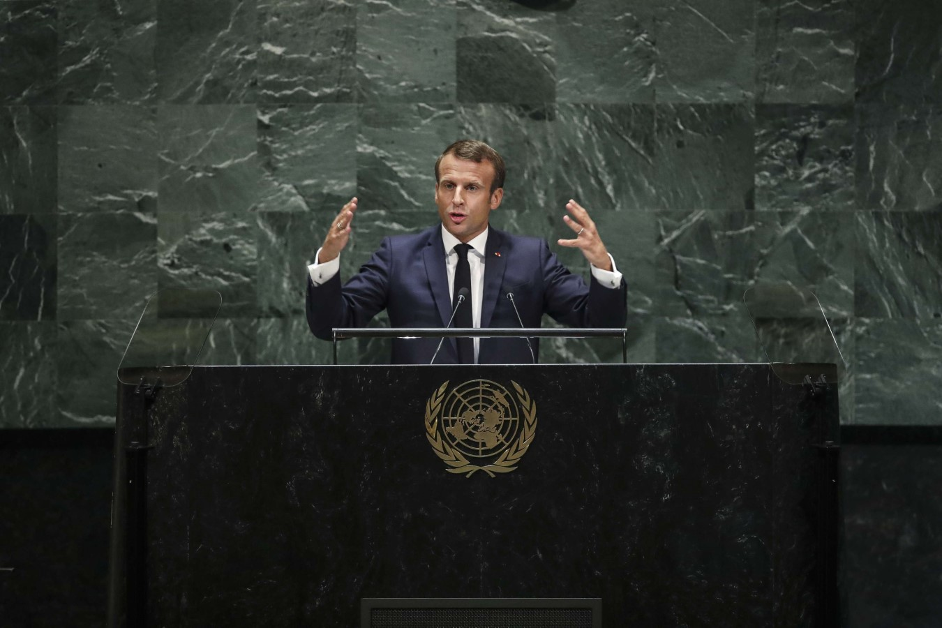 President of France Emmanuel Macron addresses the United Nations General Assembly at UN headquarters on September 24. (AFP)
