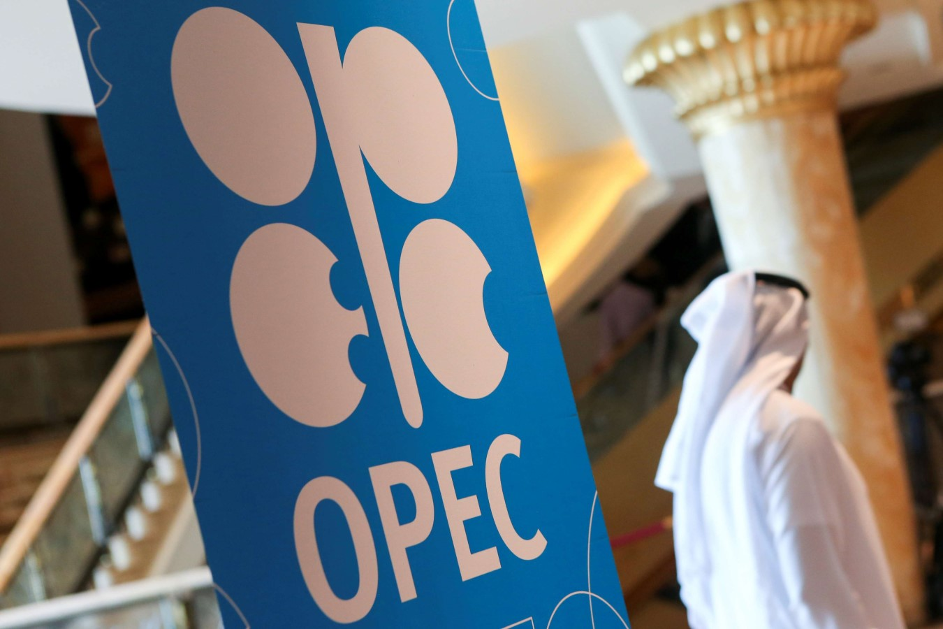 The logo of Opec is seen at the joint Ministerial Monitoring Committee in Abu Dhabi, United Arab Emirates September 12. (Reuters)