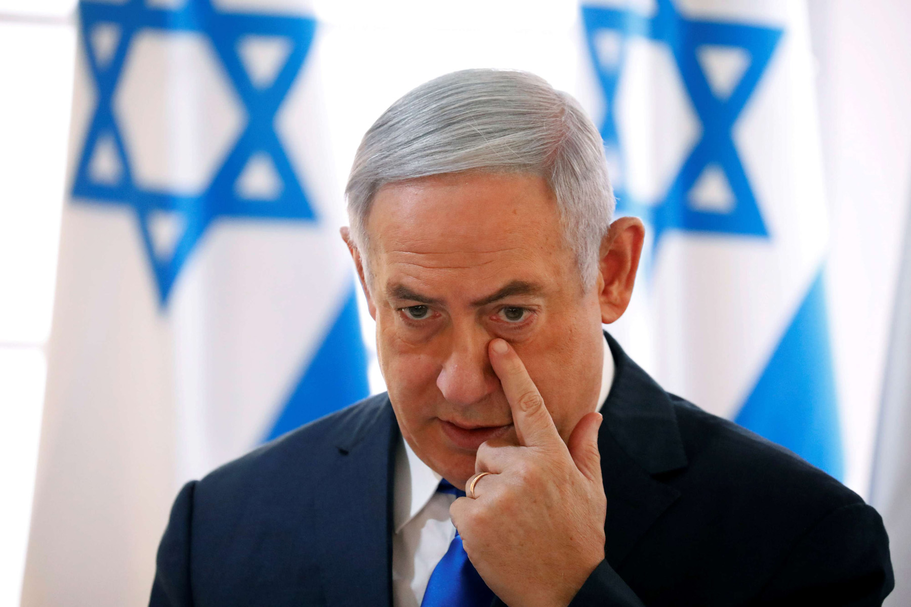 sraeli Prime Minister Binyamin Netanyahu gestures during a weekly cabinet meeting in the Jordan Valley, in the Israeli-occupied West Bank September 15. (Reuters)