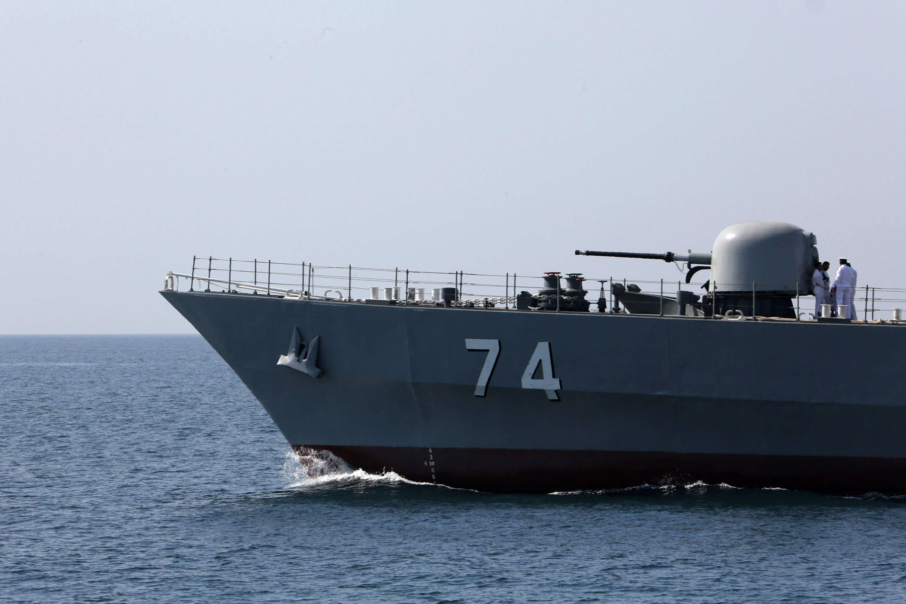 "An Iranian Navy warship takes part in the ""National Persian Gulf day"" in the Strait of Hormuz, on April 30. (AFP)"