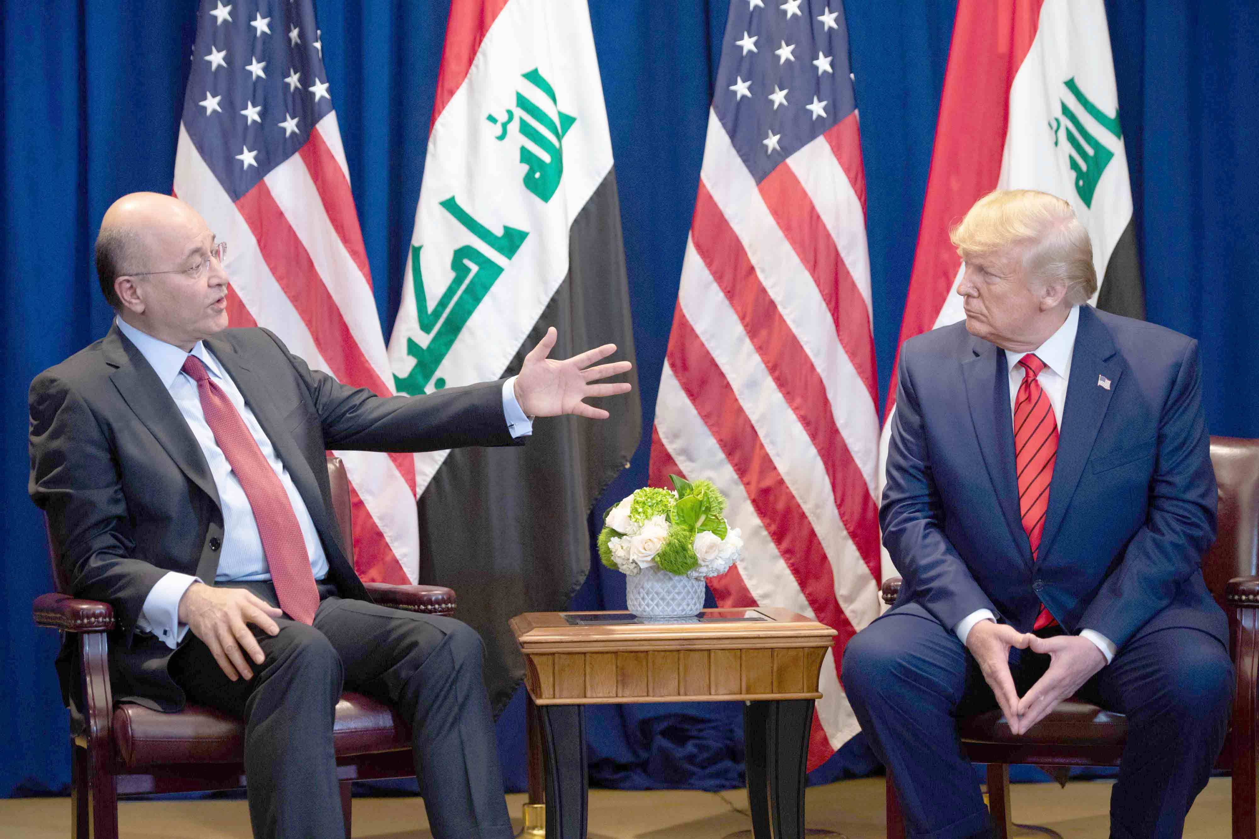 An opportunity to act. US President Donald Trump (R) and Iraqi President Barham Salih hold a meeting in New York, September 24. (AFP)