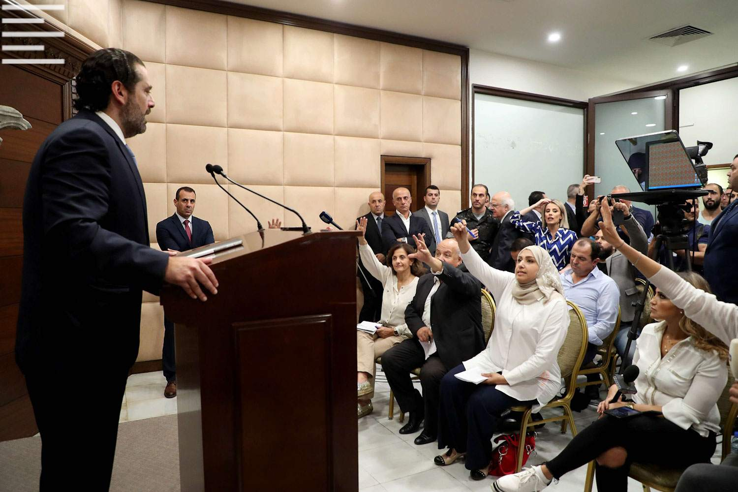 Good intentions, not much power. Lebanese Prime Minister Saad Hariri speaks during a press conference at the Presidential Palace, Beirut., October 21. (DPA)