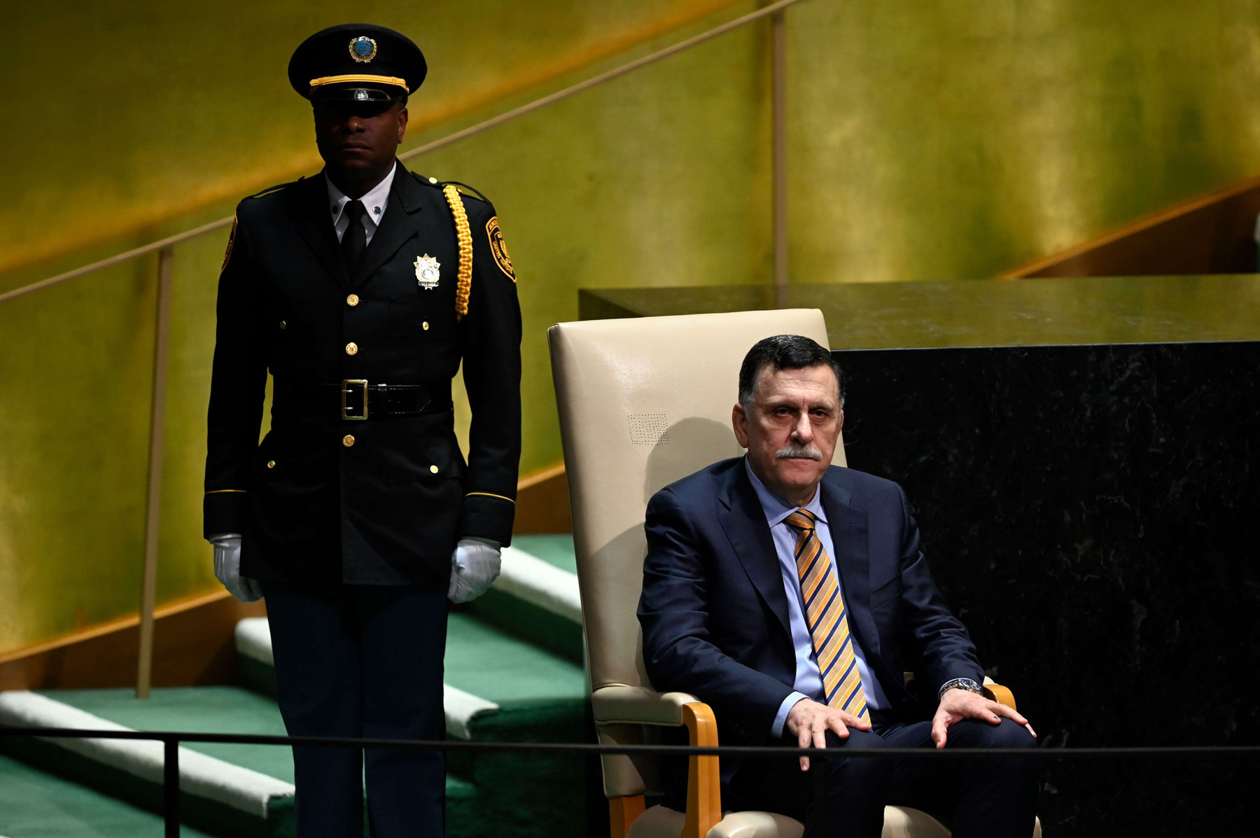 GNA Prime Minister Fayez al-Sarraj waits to speak at the 74th Session of the General Assembly at the UN headquarters in New York, September 25. (AFP)