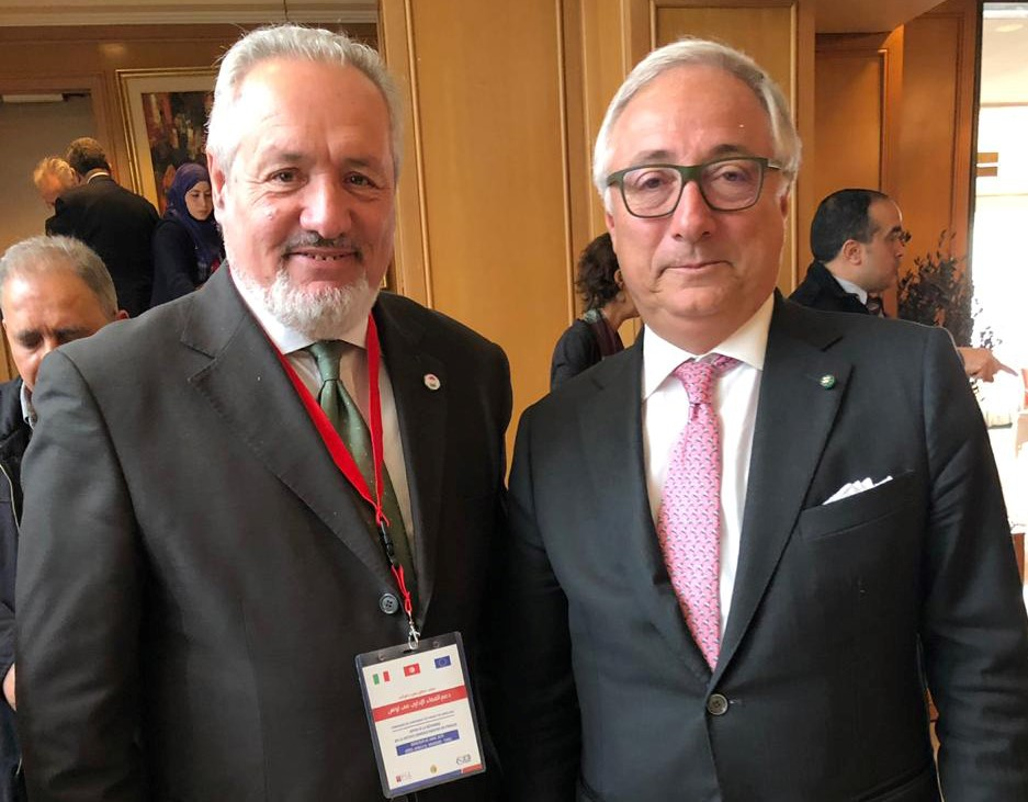 President of the Association of Italian Residents in Tunisia Donato Ladik (L) with the President of the Italian Council of State Filippo Patroni Griffi in Tunis. (Courtesy of Donato Ladik)