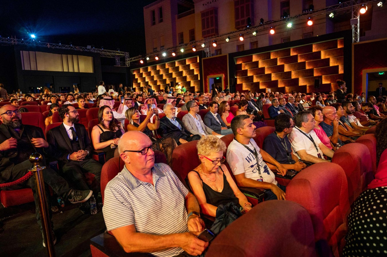 The general public attend the screening of the movie The Knight and the Princess as part of 3rd edition of ElGouna Film Festival, at Marina Theatre, in ElGouna, Egypt on September 23. (AFP)