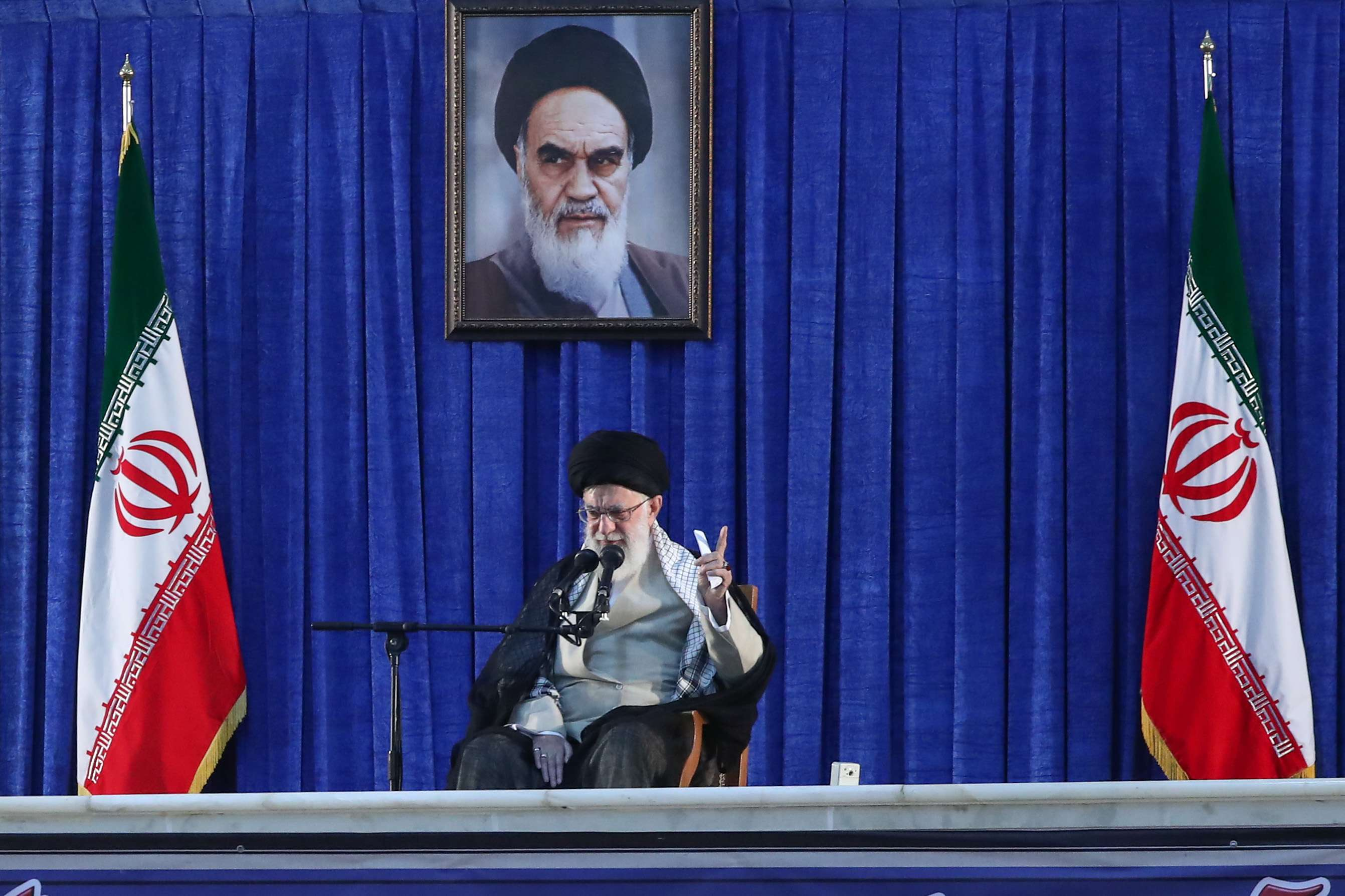 Iranian supreme leader Ayatollha Ali Khamenei delivers his speech to the crowd during the 30th death anniversary of former Iranian supreme leader Ayatollah Ruhollah Khomeini, in his shrine, June 4, 2019. (DPA)