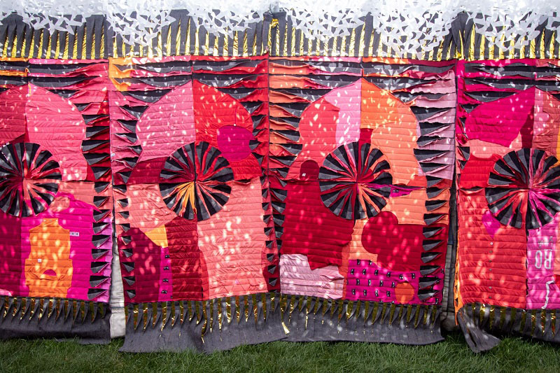 Recycled fabrics on display at the T-Serai portable palace.	   (SMA)
